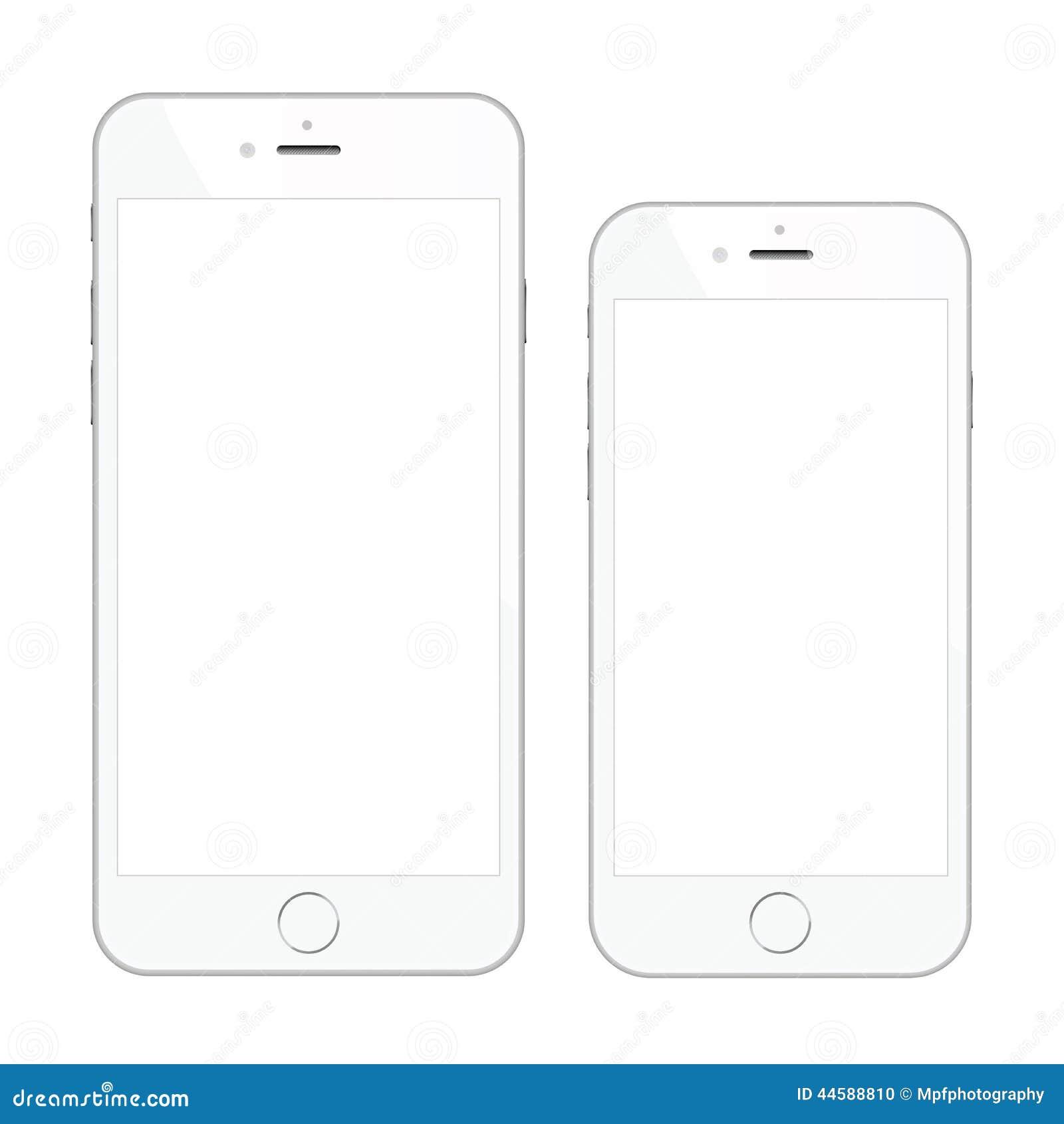 Dos ejemplos blancos de alta calidad del vector del smartphone aislados