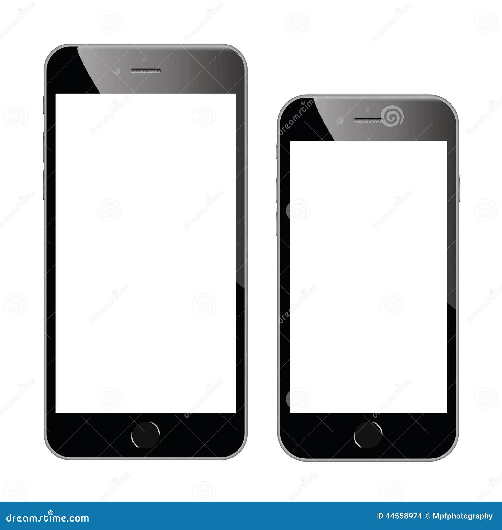 Dos ejemplos negros de alta calidad del vector del smartphone aislados