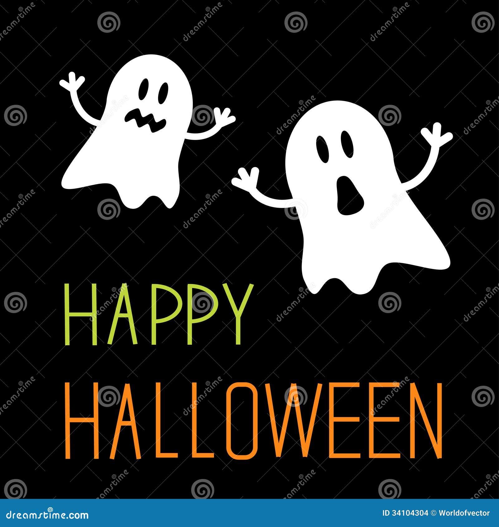 dos fantasmas divertidos de halloween tarjeta imagenes de archivo imagen 34104304. Black Bedroom Furniture Sets. Home Design Ideas