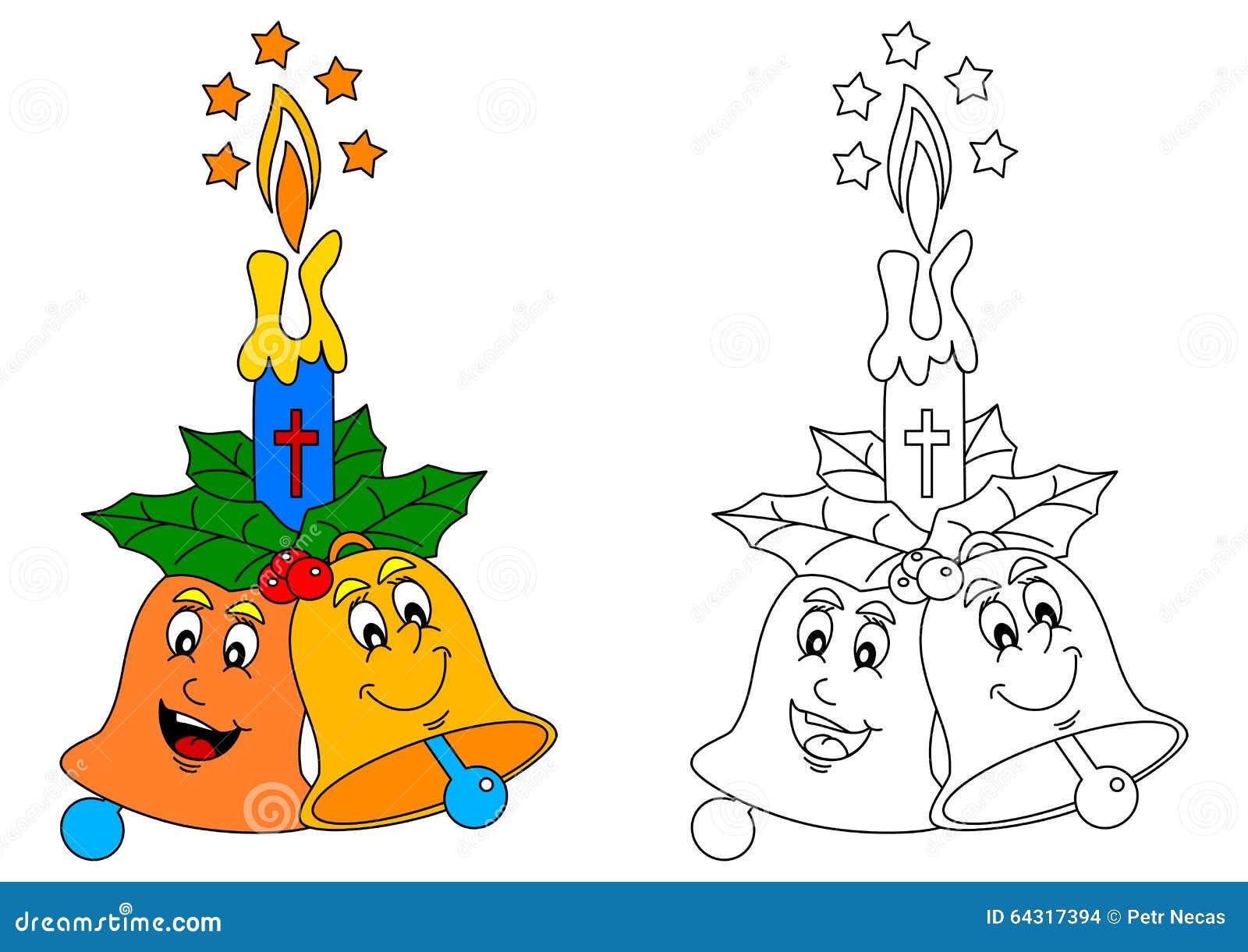 Dos Felices Campanas Y Llamas De Vela Coloridas - Libro De Colorear ...