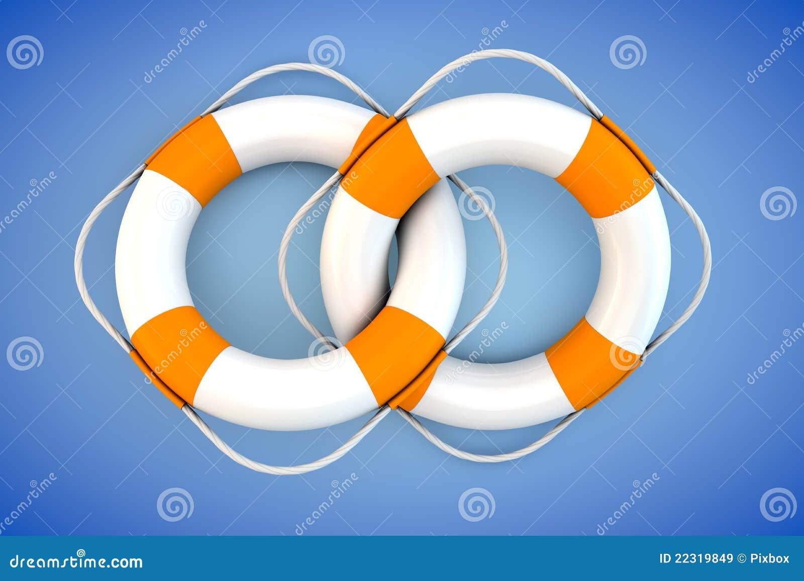 Dos flotadores blancos con la cuerda de la tapa