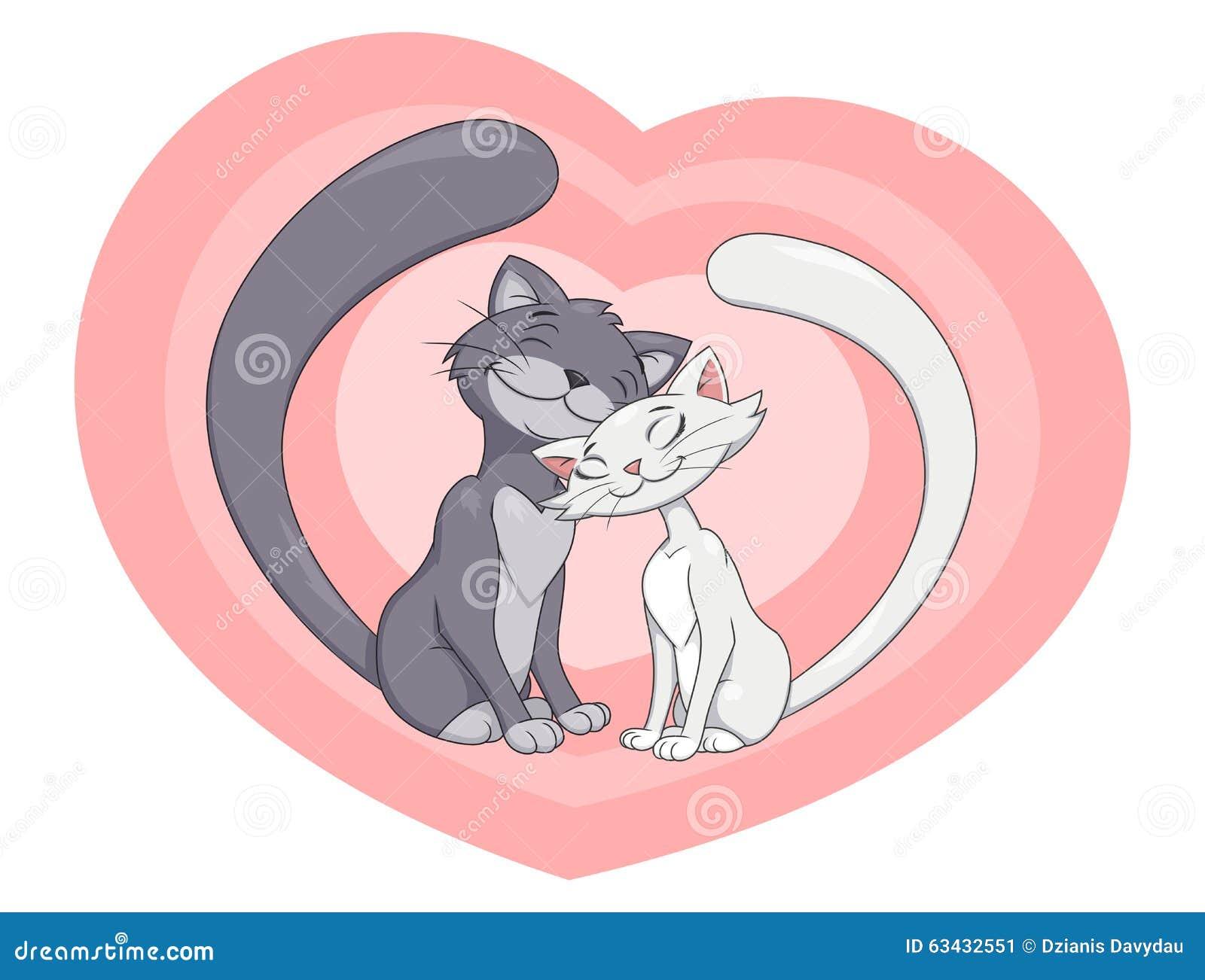 Dos Gatos Enamorados 4 Ilustración Del Vector Ilustración De