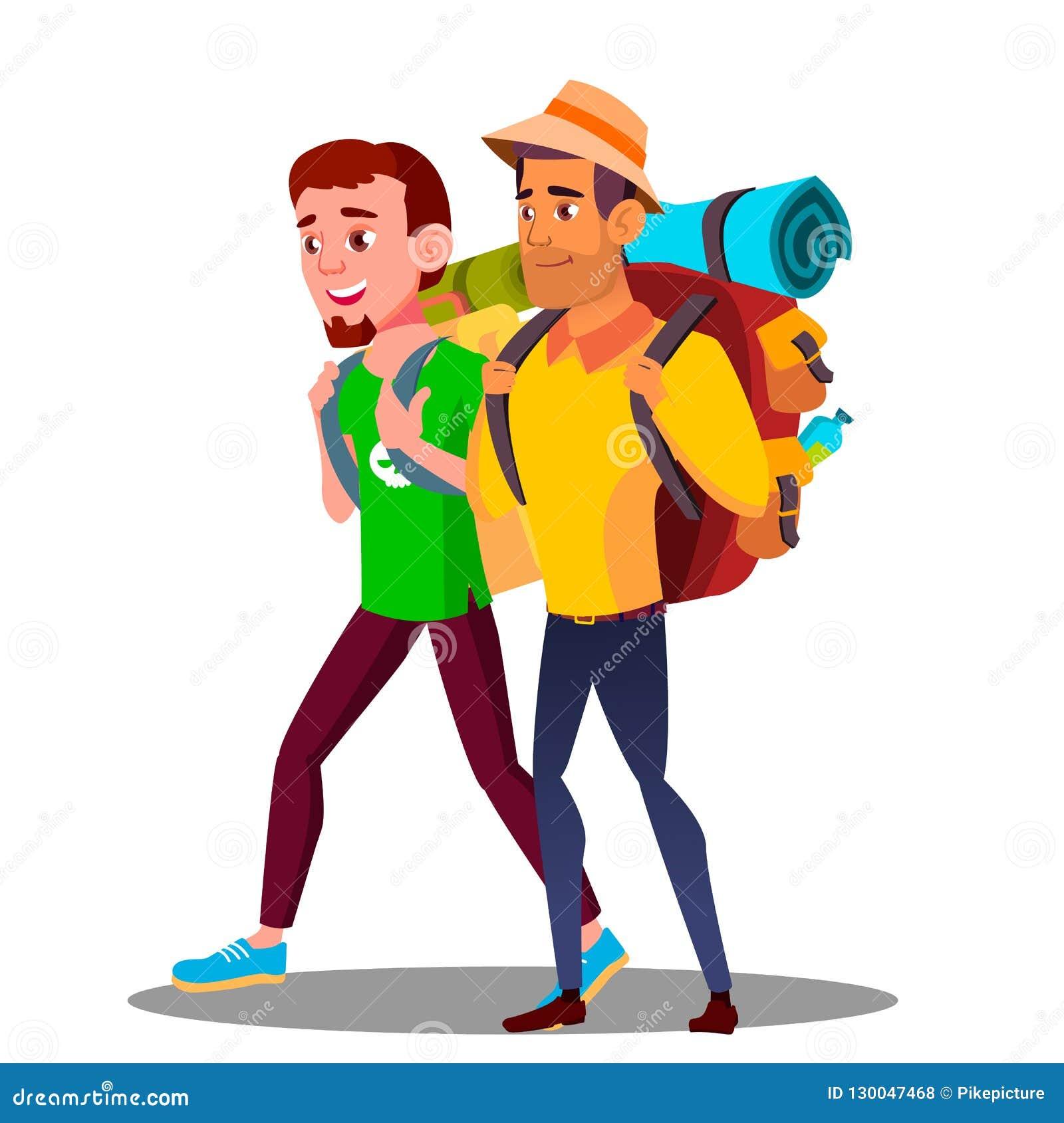 Dos Guy Friends Teen Going Hiking con vector de las mochilas Ilustración aislada