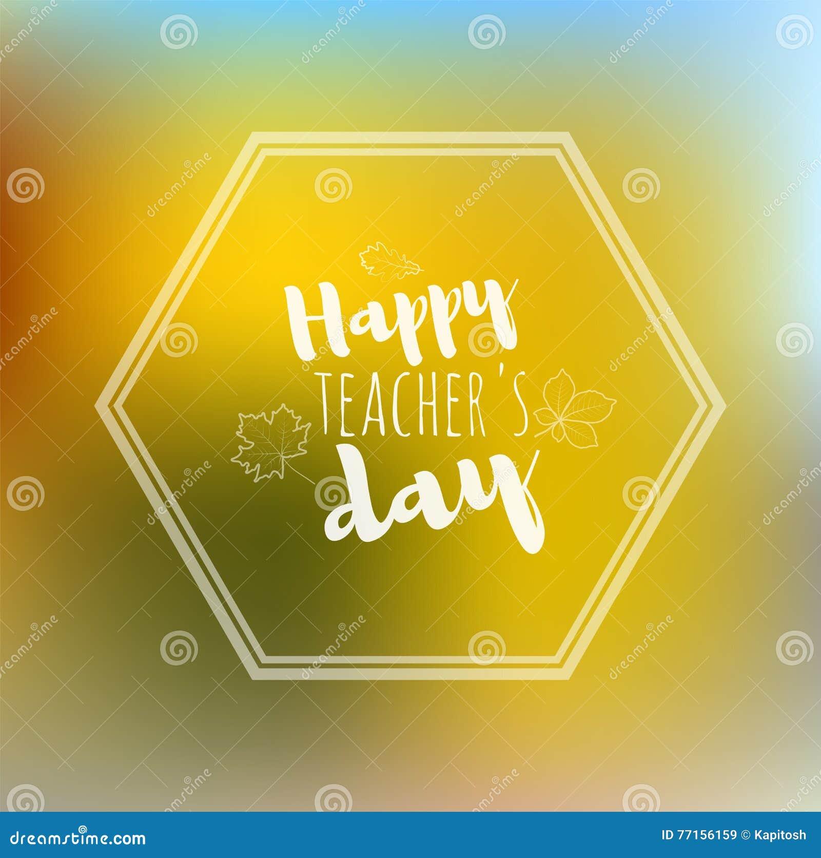 Dos heureux de jaune de jour de professeurs de carte de voeux