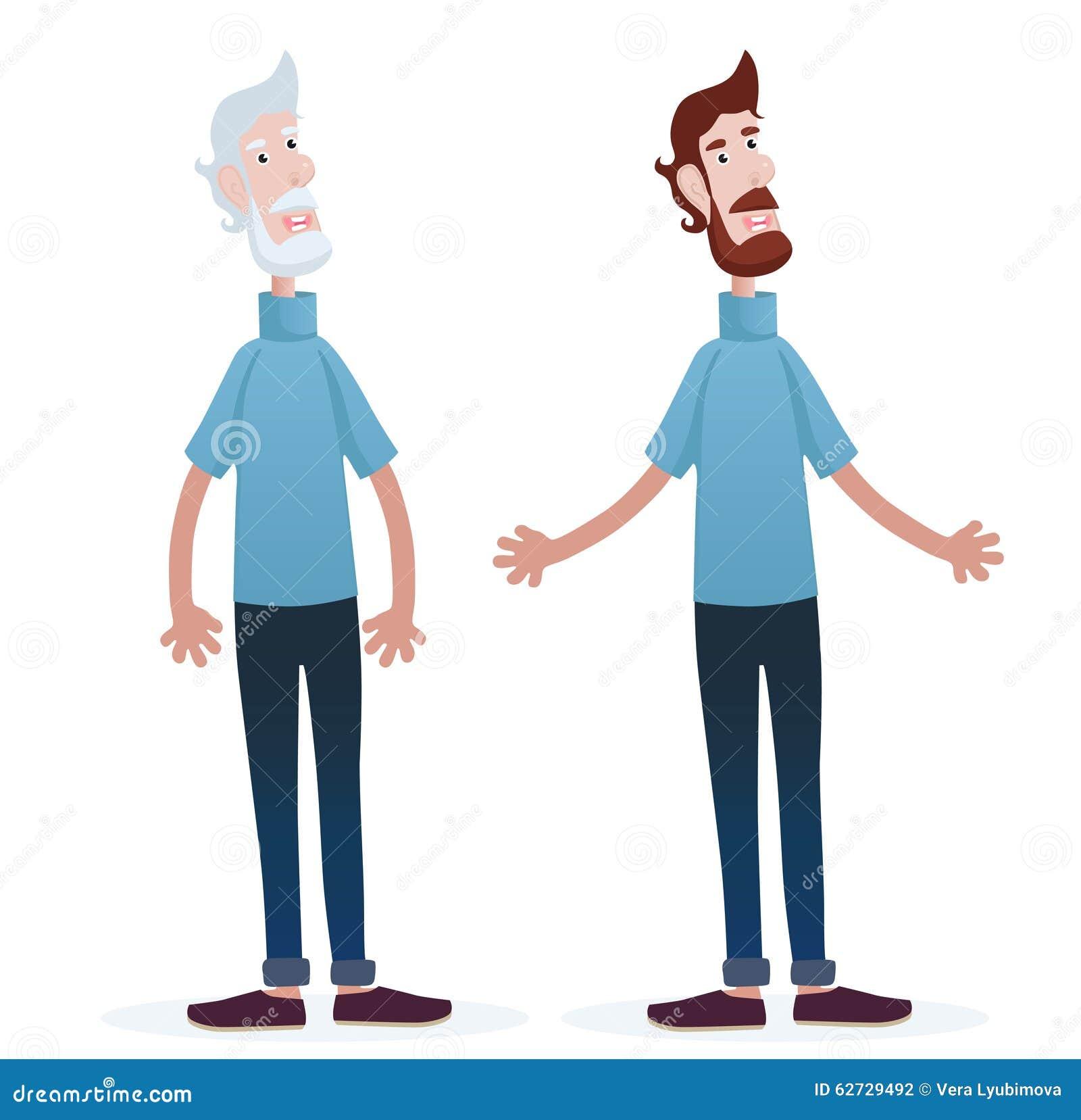 hombres joven viejo