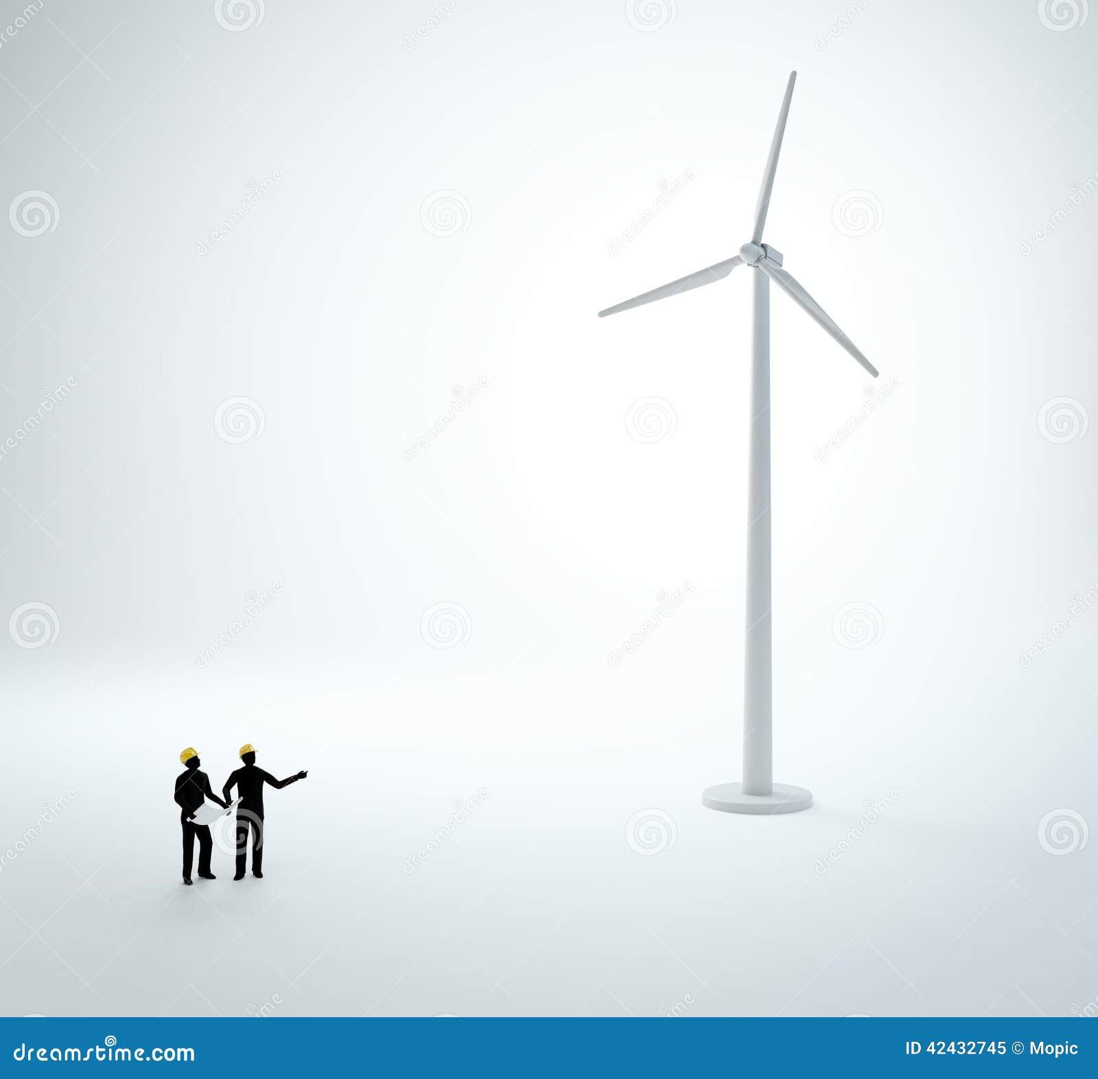 Dos ingenieros minúsculos que construyen un parque eólico
