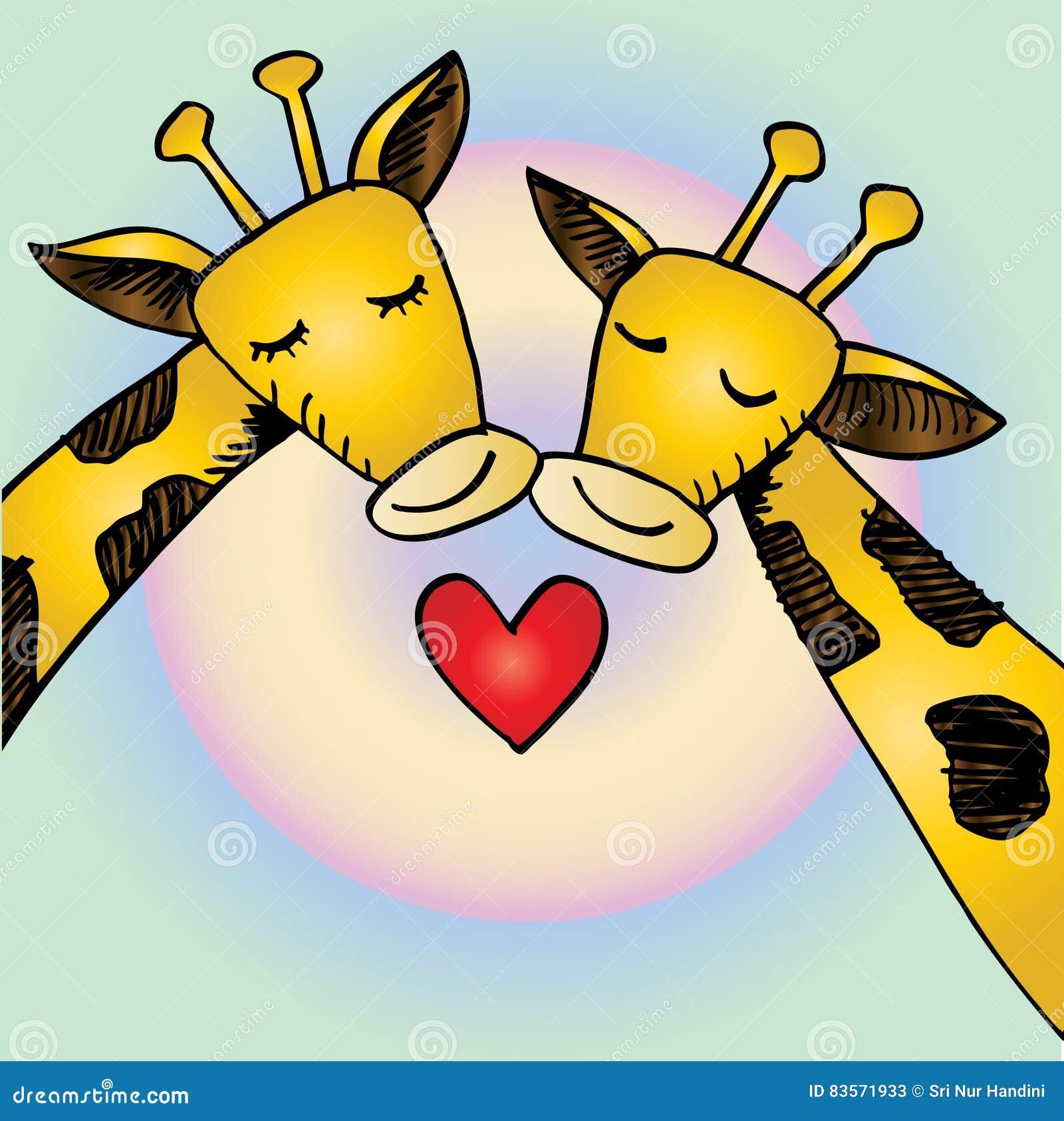 Dos Jirafas De La Historieta En Amor Stock De Ilustracion