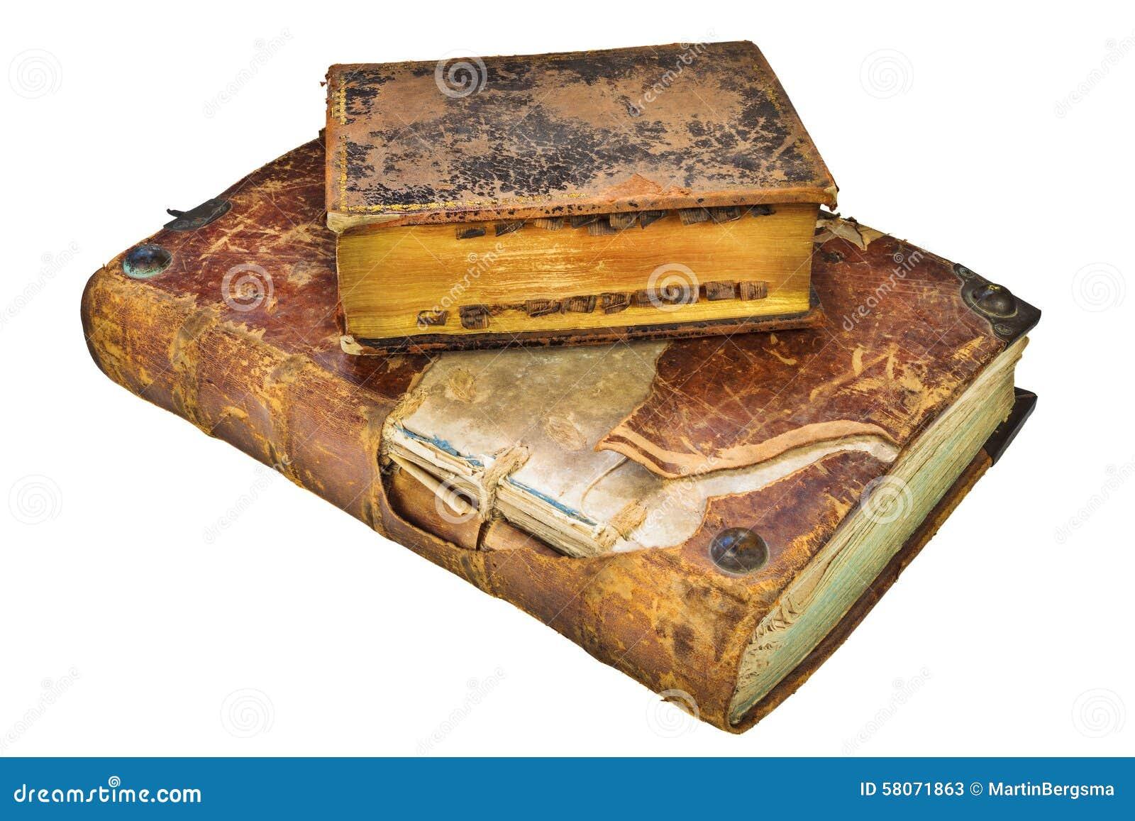 Dos Libros Antiguos Medievales Aislados En Blanco Imagen De Archivo