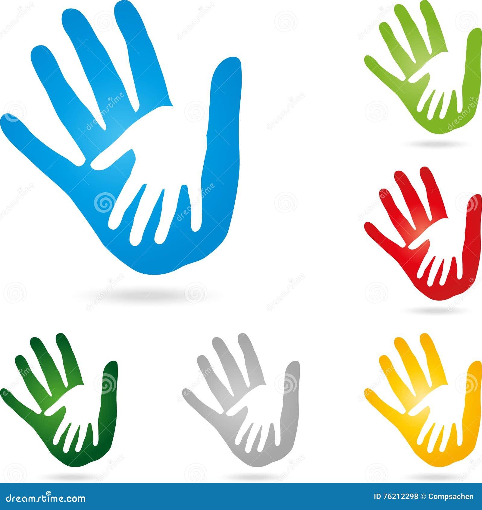 Dos manos, color de las manos, vector