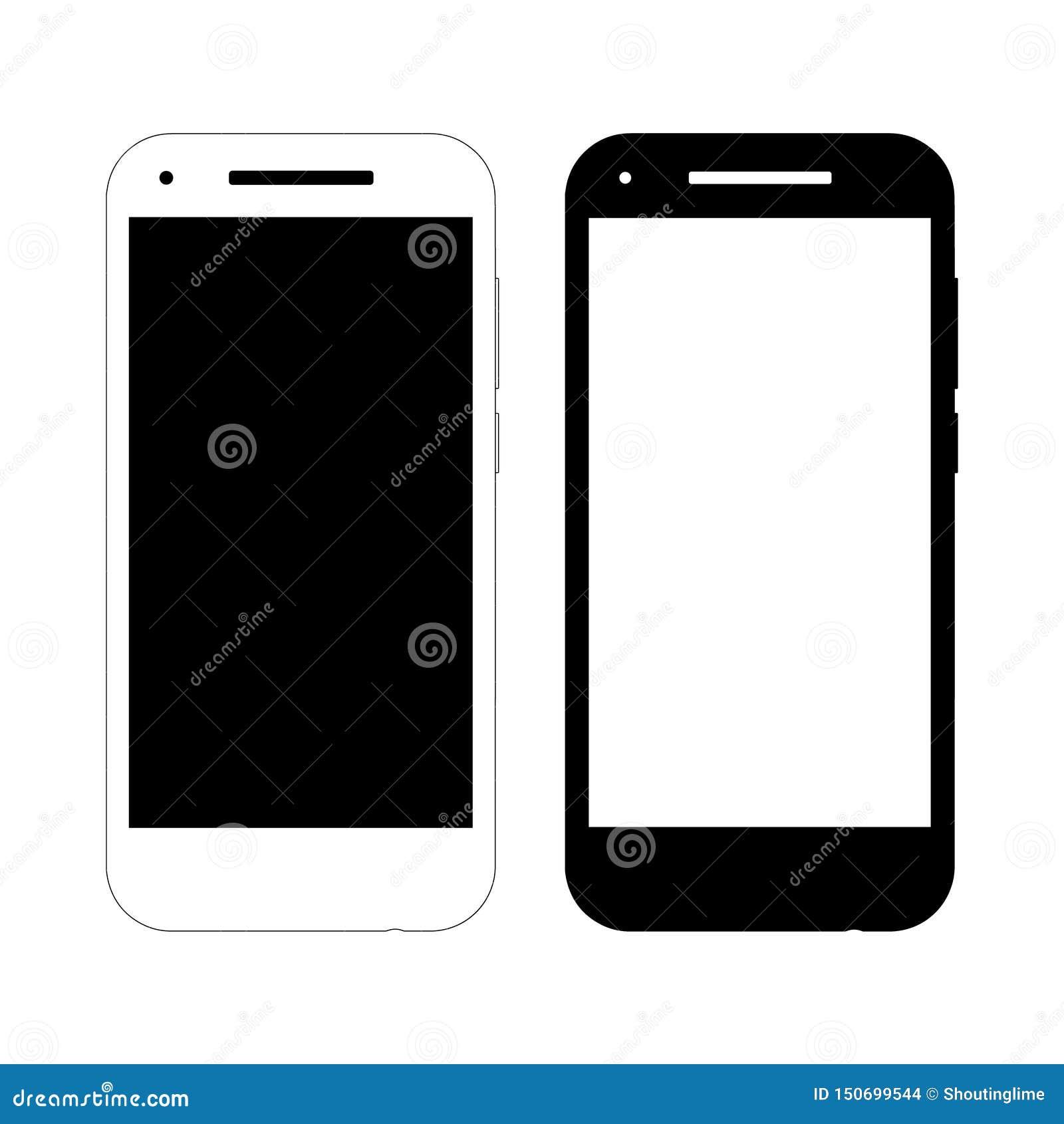 Dos maquetas simples del smartphone del vector