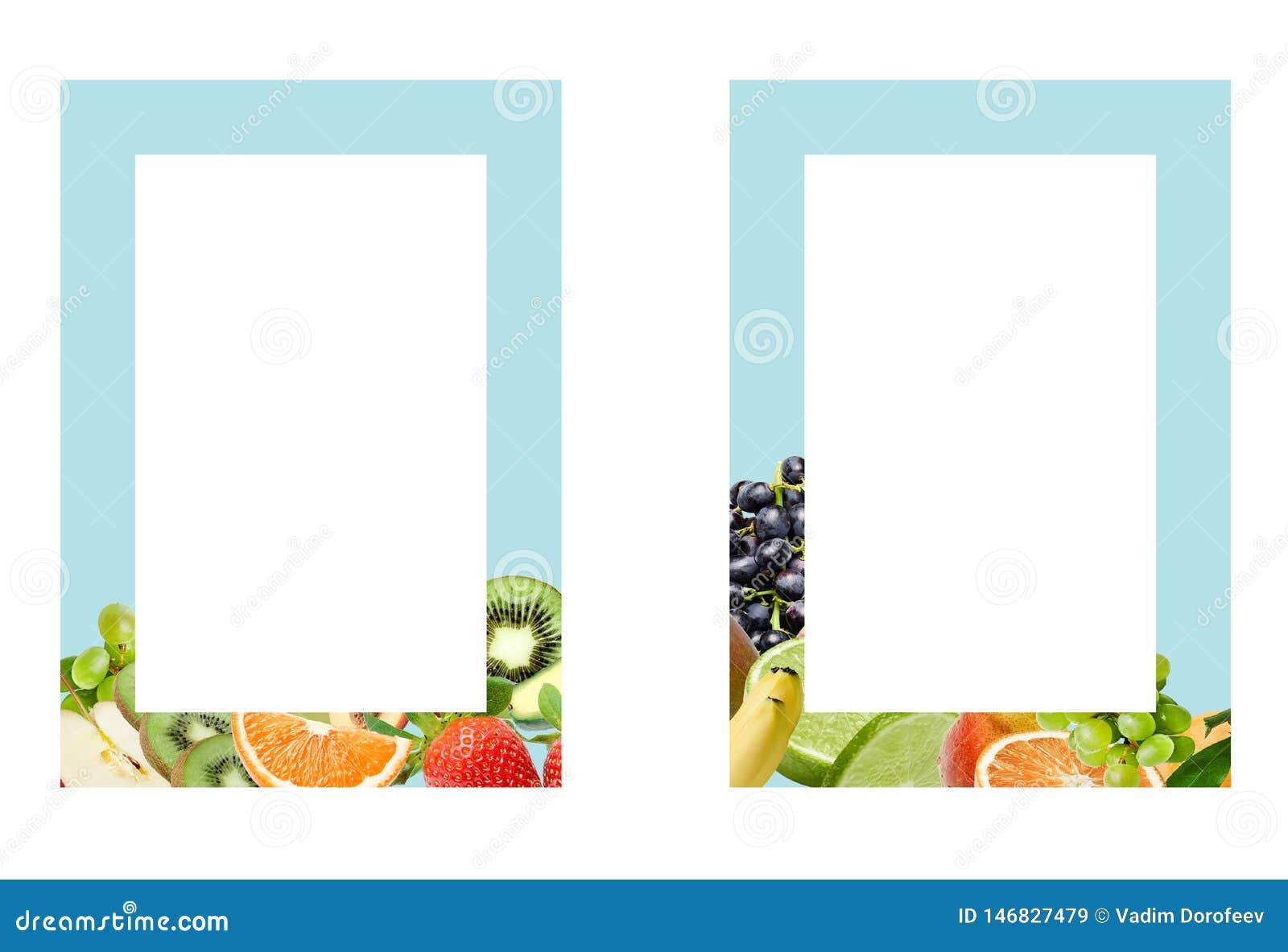 Dos marcos de color de la turquesa con la decoración de la composición de la fruta abajo Elemento del dise?o para la impresi?n o