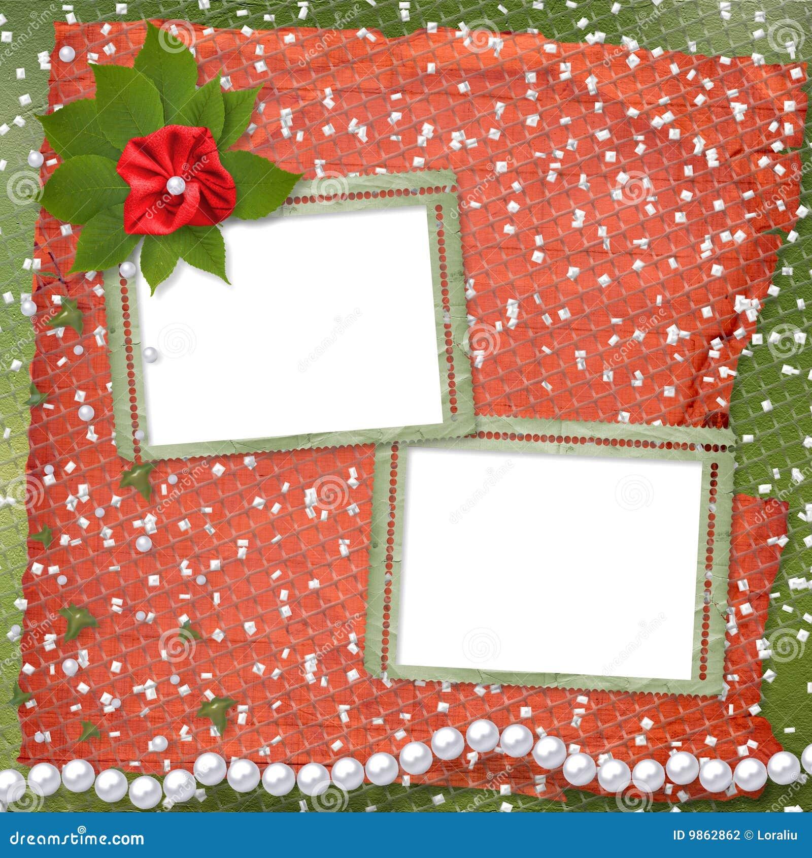 Dos marcos para las fotos con las perlas y el manojo de flor.