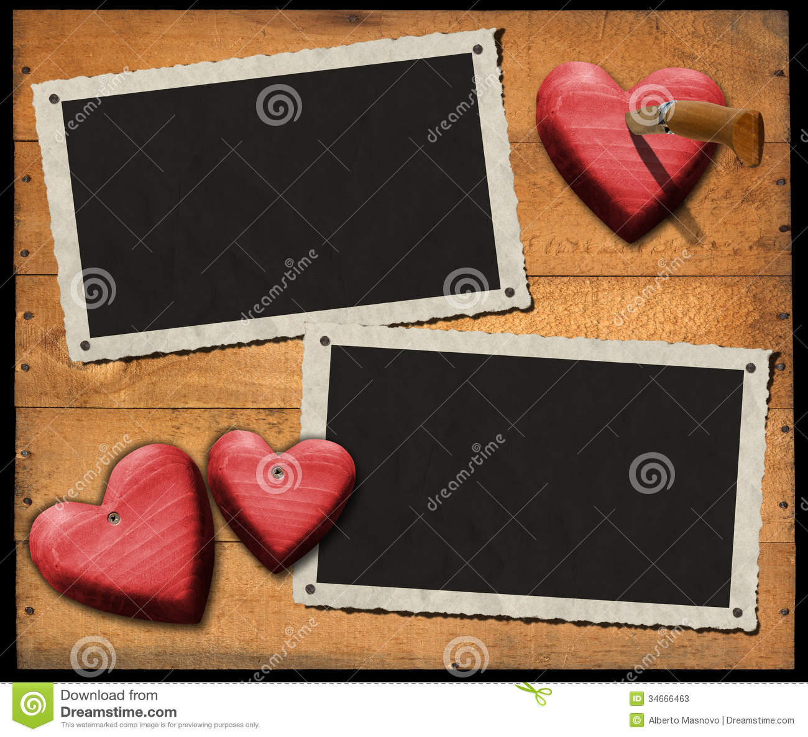 Dos Marcos Románticos De La Foto En La Pared De Madera Stock de ...