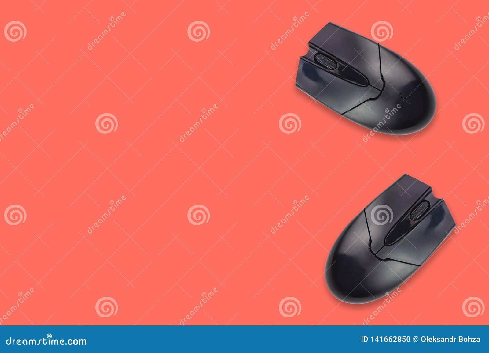 Dos mouses ópticos plásticos negros del ordenador en el color coralino de la tabla de la oficina Visión superior copie el espacio