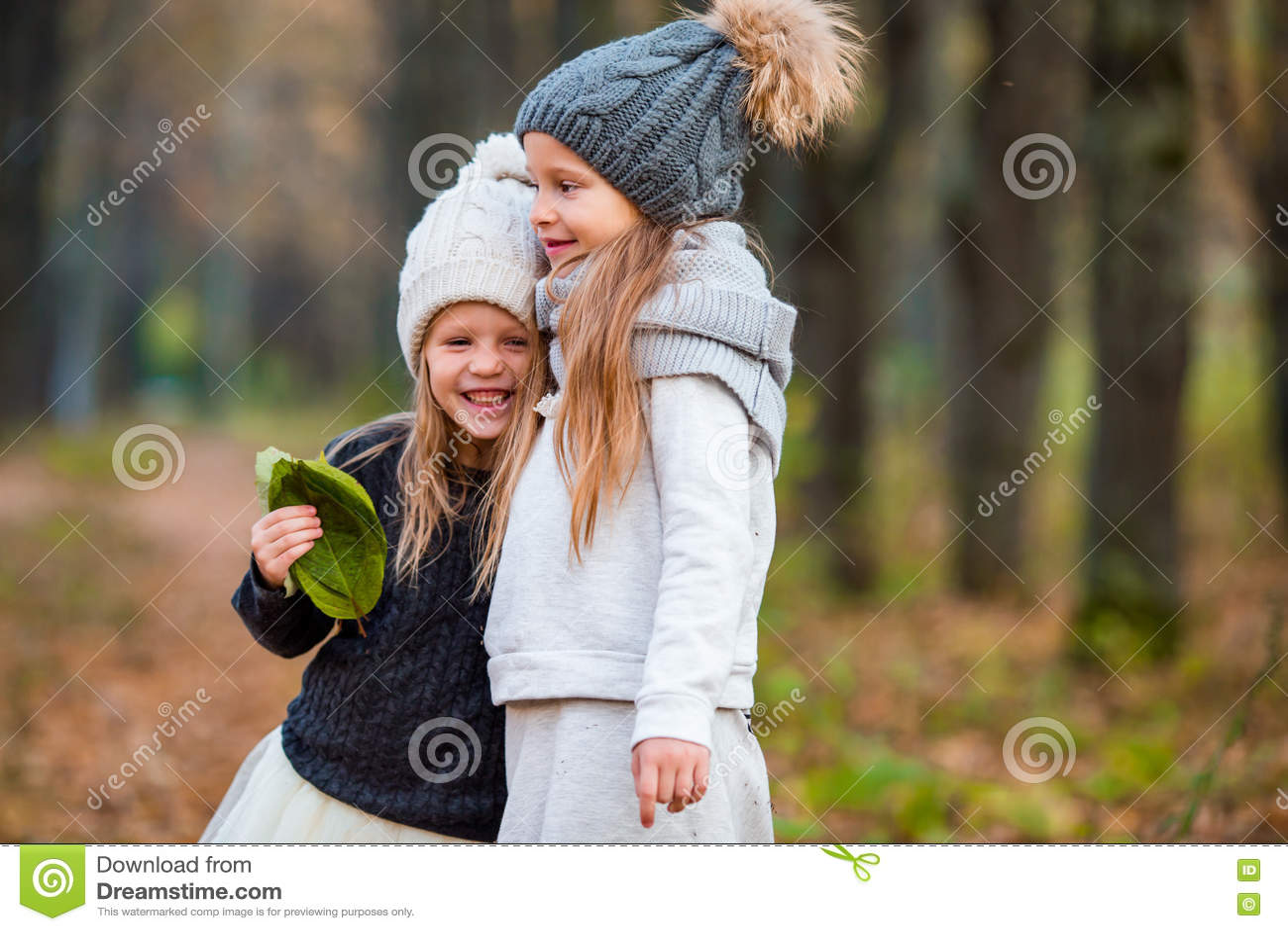 Dos Muchachas Adorables En Bosque En El Día Soleado Caliente Del Otoño Foto de archivo