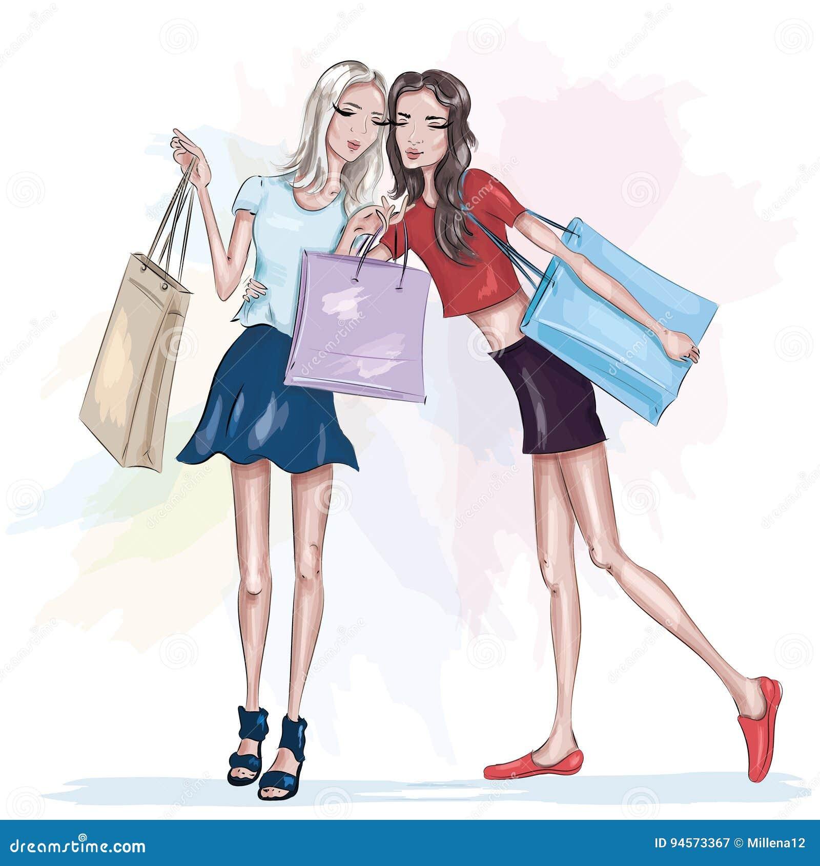 Dos muchachas delgadas hermosas con los panieres Muchachas de la manera Mujeres bonitas elegantes bosquejo