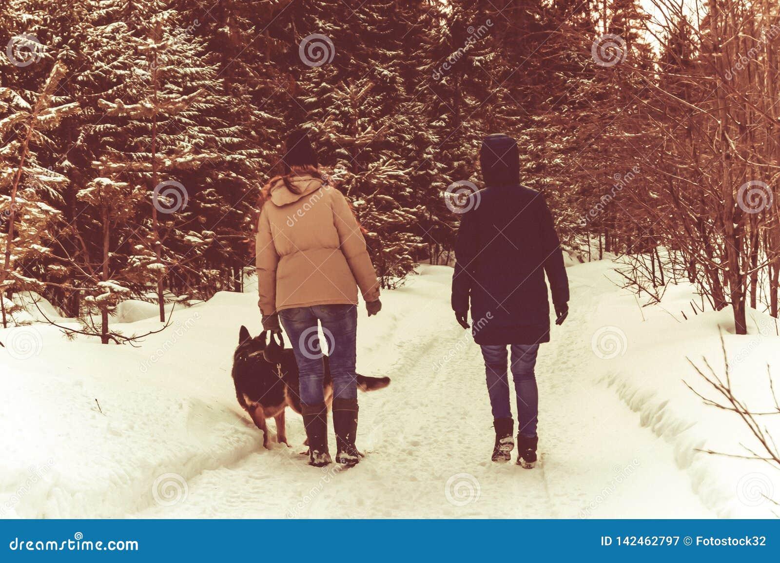Dos muchachas y un perro están caminando en el bosque del invierno