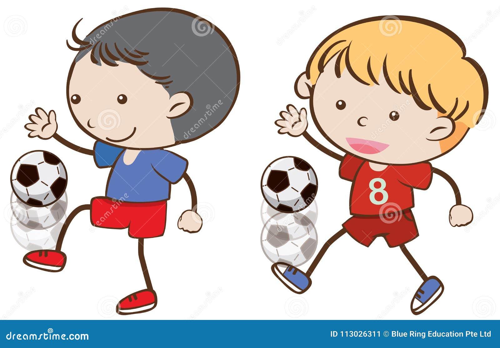 Dos muchachos que juegan al balompié