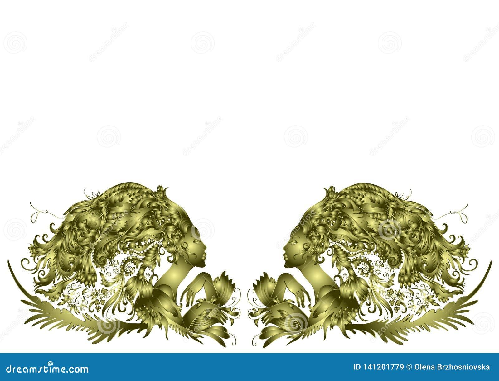 Dos mujeres hermosas, pelo - flores, diseño de oro, invitación en un fondo blanco