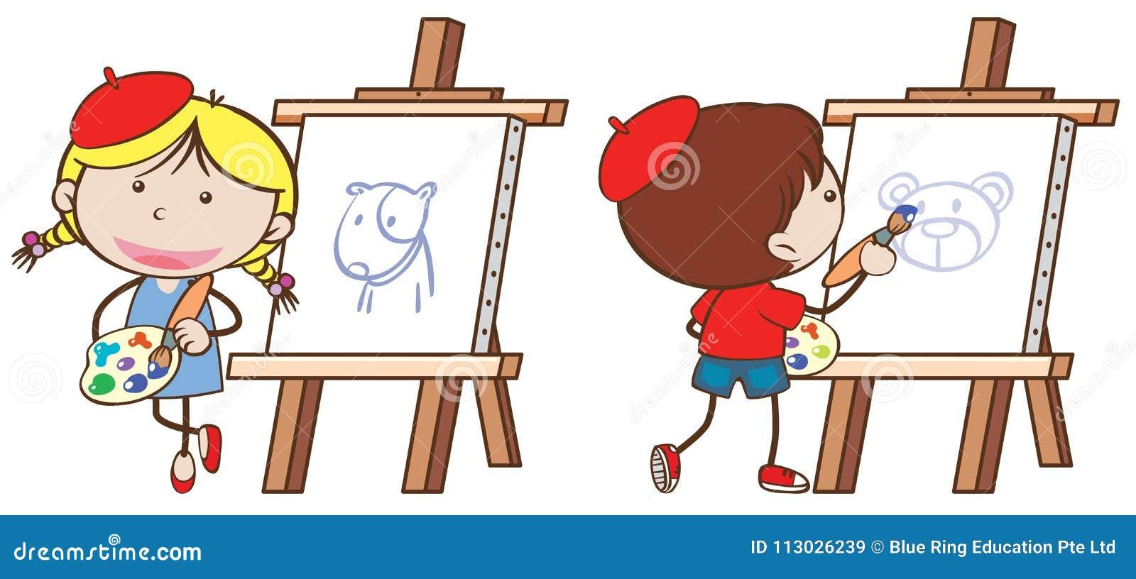 Dos niños que dibujan en lona