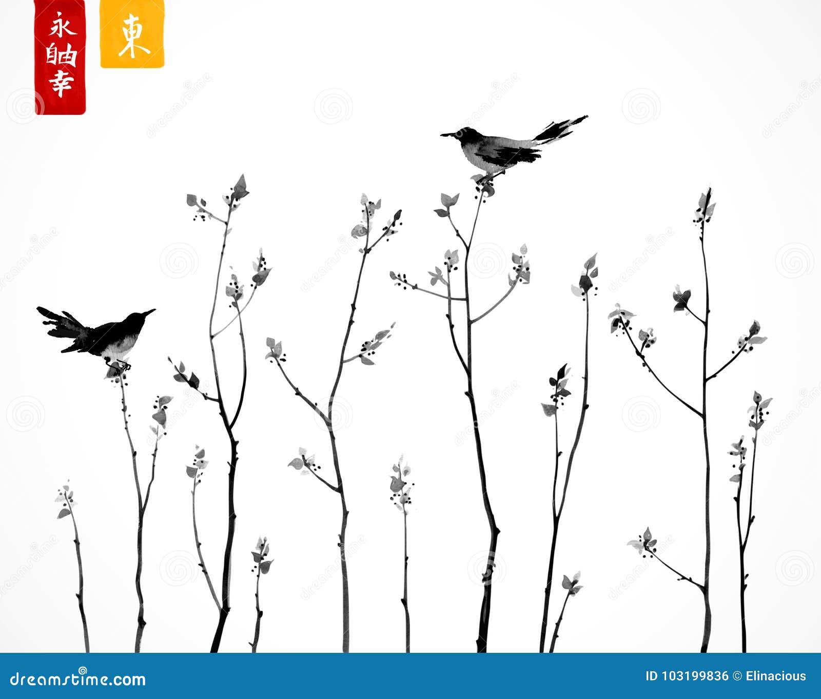 Dos pájaros negros en ramas de árboles en el fondo blanco Contiene los jeroglíficos - zen, libertad, naturaleza