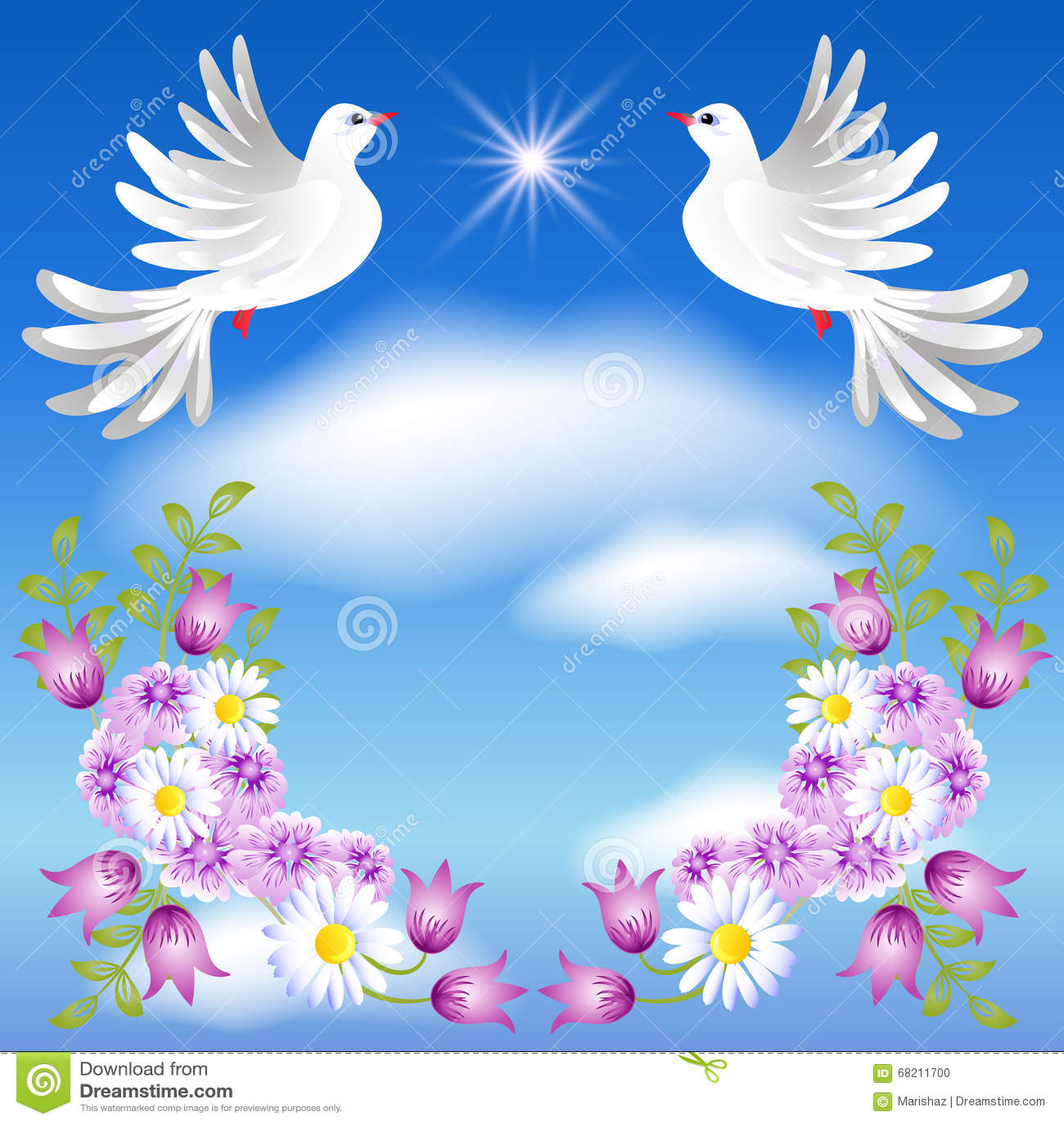 Dos Palomas Blancas En El Cielo Ilustración Del Vector Ilustración