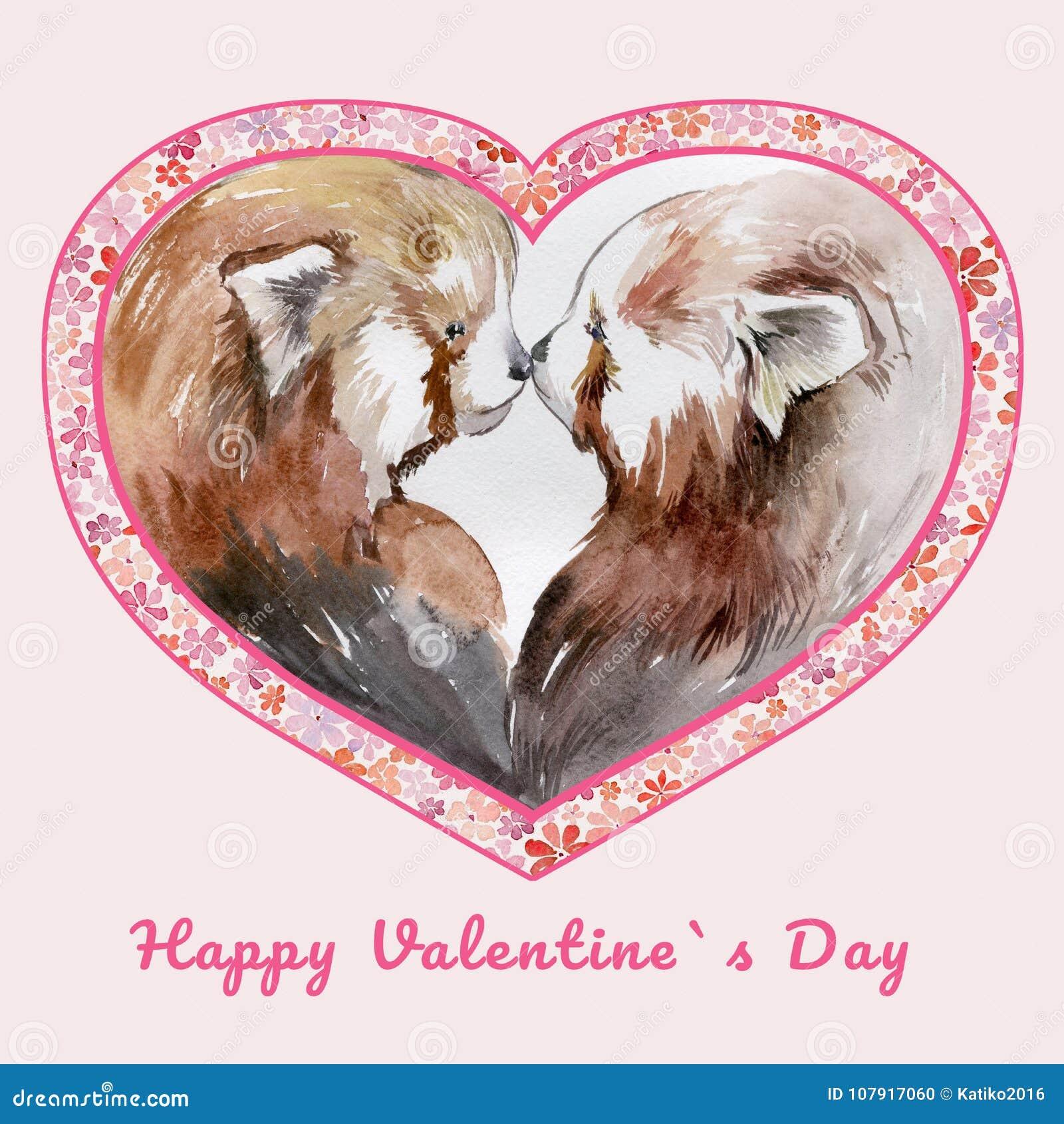 Dos pandas rojas que se besan en marco en forma de corazón con las pequeñas flores Día feliz del ` s de la tarjeta del día de San