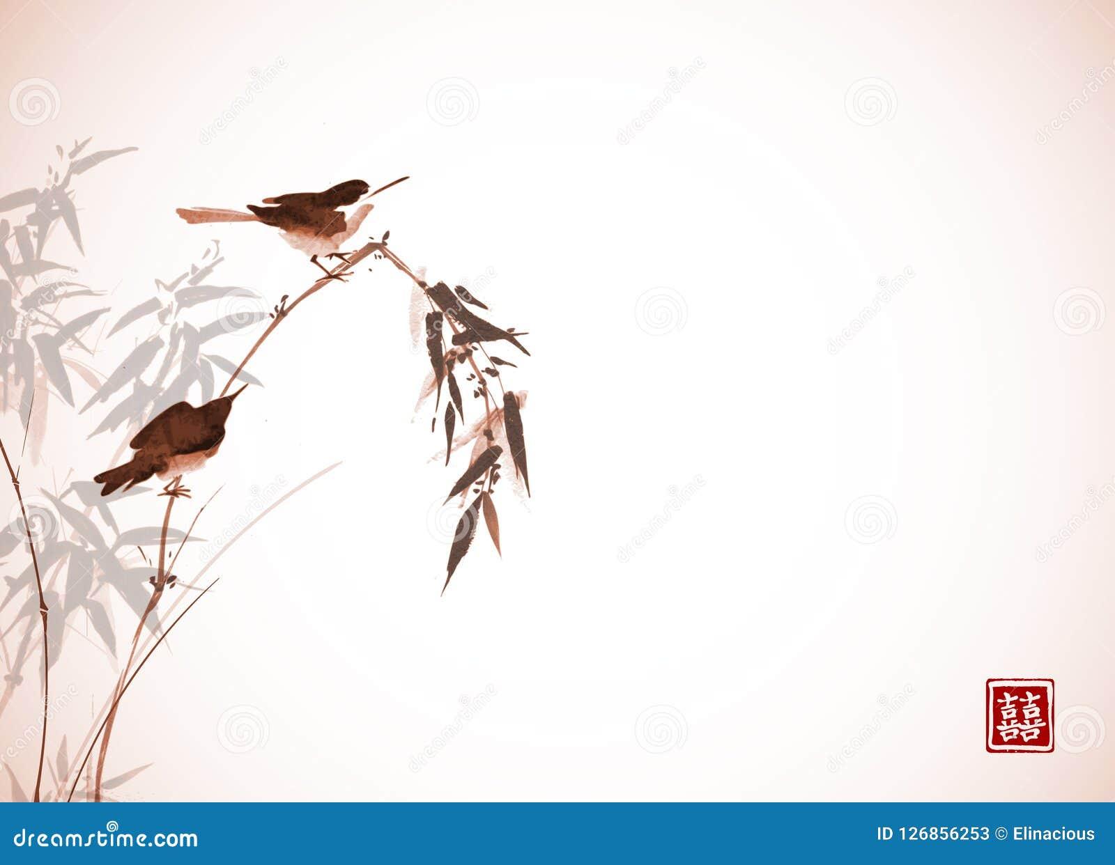Dos pequeños pájaros que se sientan en la rama de bambú Sumi-e oriental tradicional de la pintura de la tinta, u-pecado, ir-hua e