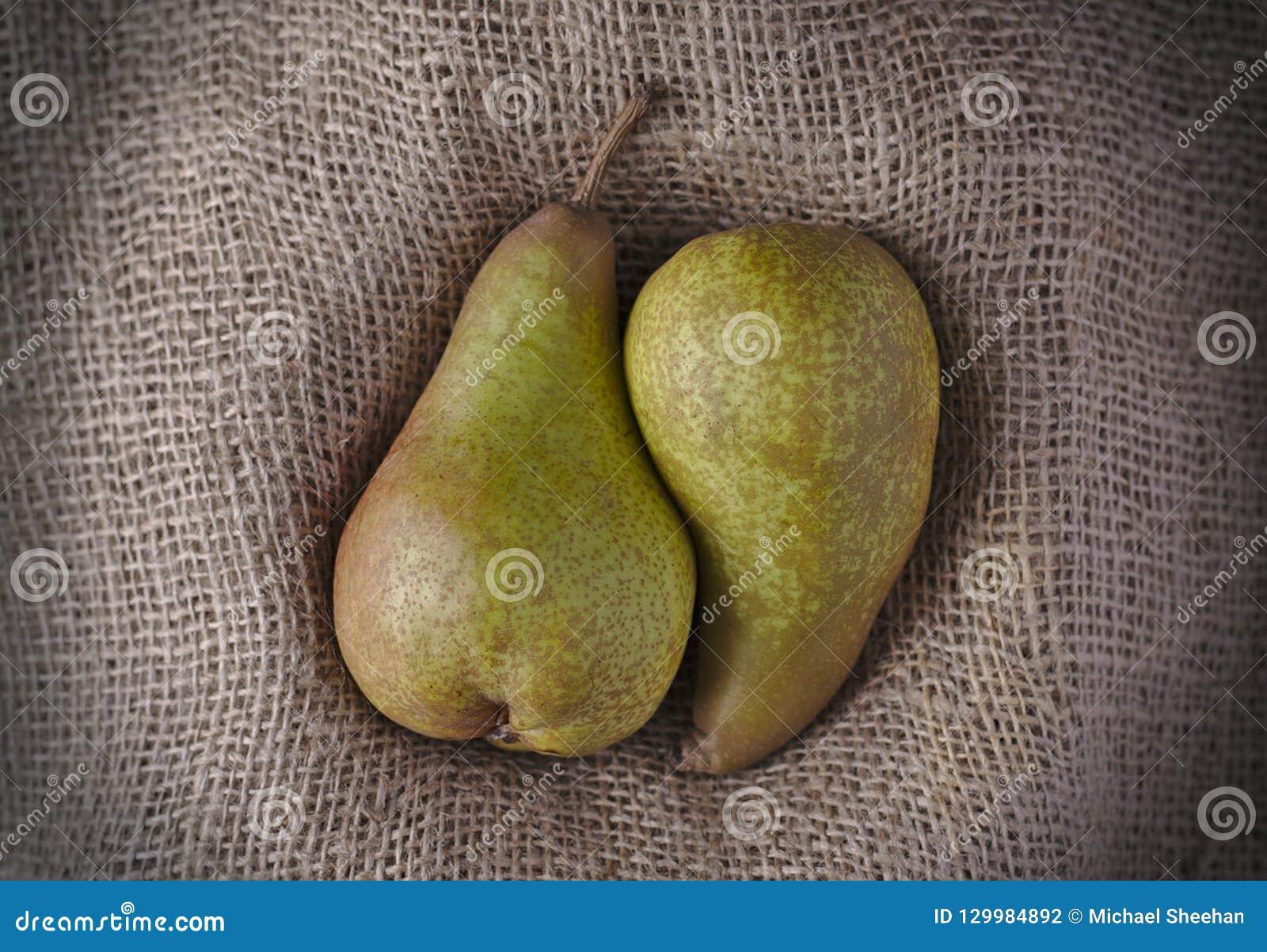 Dos peras jugosas abrazadas juntas en la arpillera o la arpillera