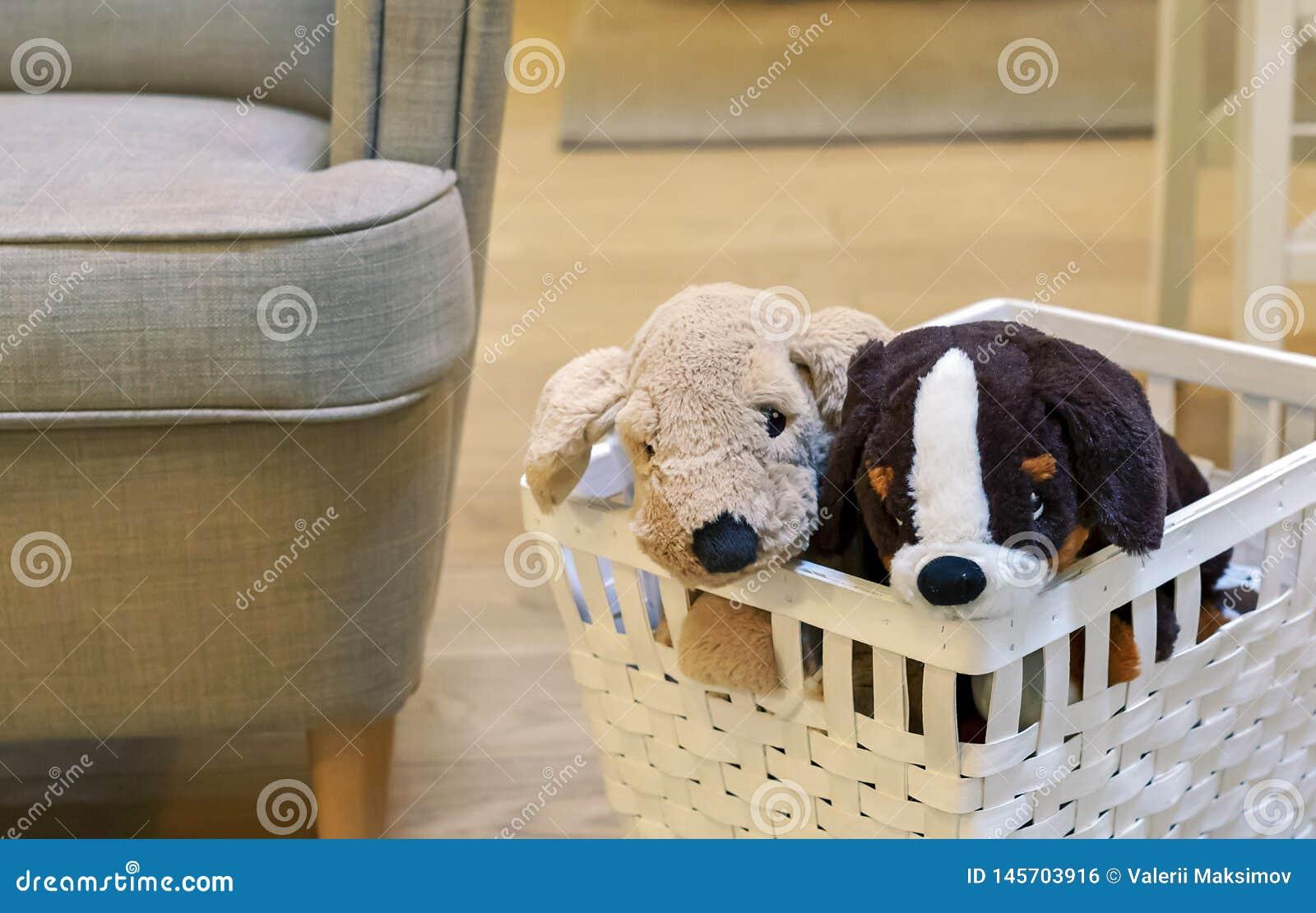 Dos perritos de la felpa en una cesta de mimbre blanca Perrito suave del juguete