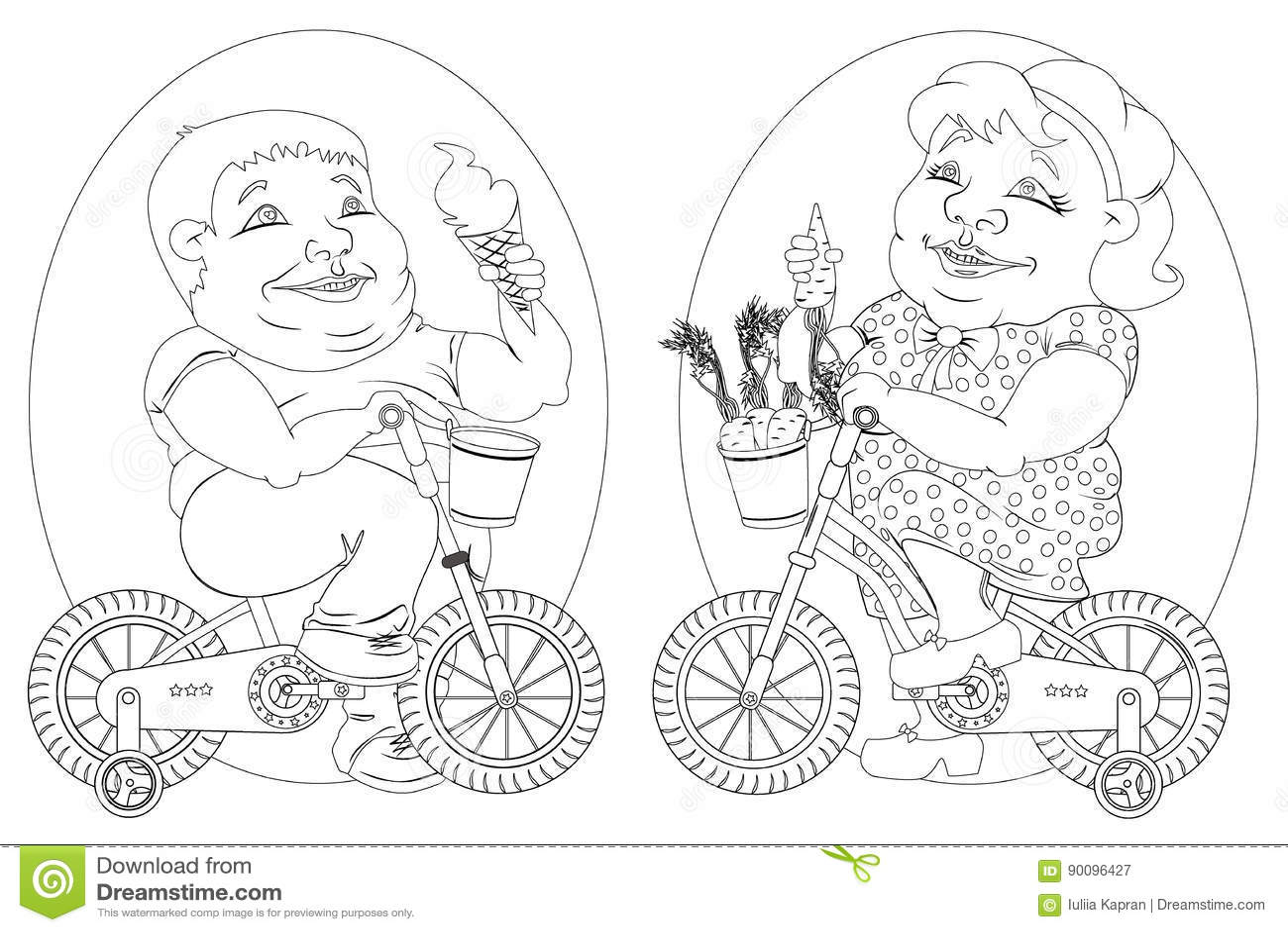 Dos Personas Gordas En Las Bicicletas, Imagen Blanco Y Negro ...