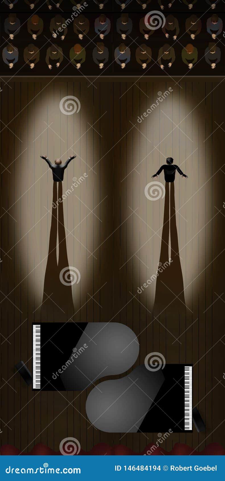 Dos pianistas en proyectores toman sus arcos como audiencia aplauden después de un funcionamiento del dúo en pianos de cola Se ve