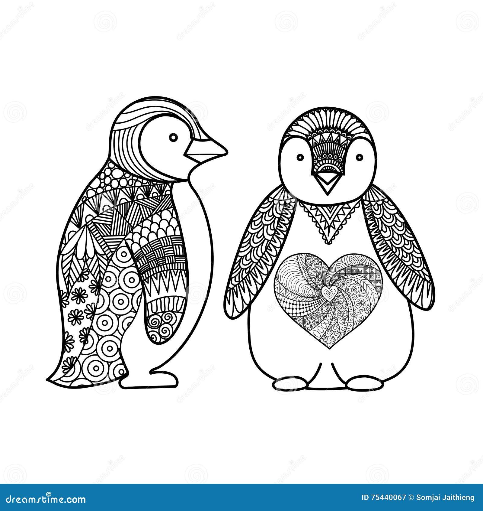 Dos Pingüinos Garabatean El Diseño Para El Libro De Colorear Para El ...