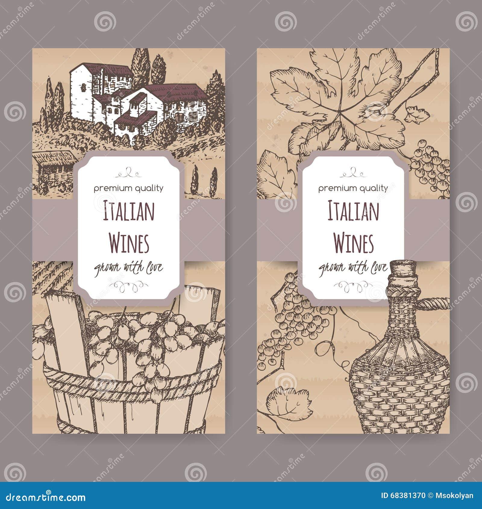 Dos plantillas de la etiqueta del vino del italiano en fondo de la cartulina