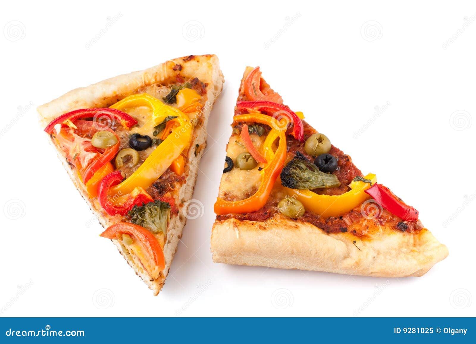 Dos rebanadas vegetales de la pizza
