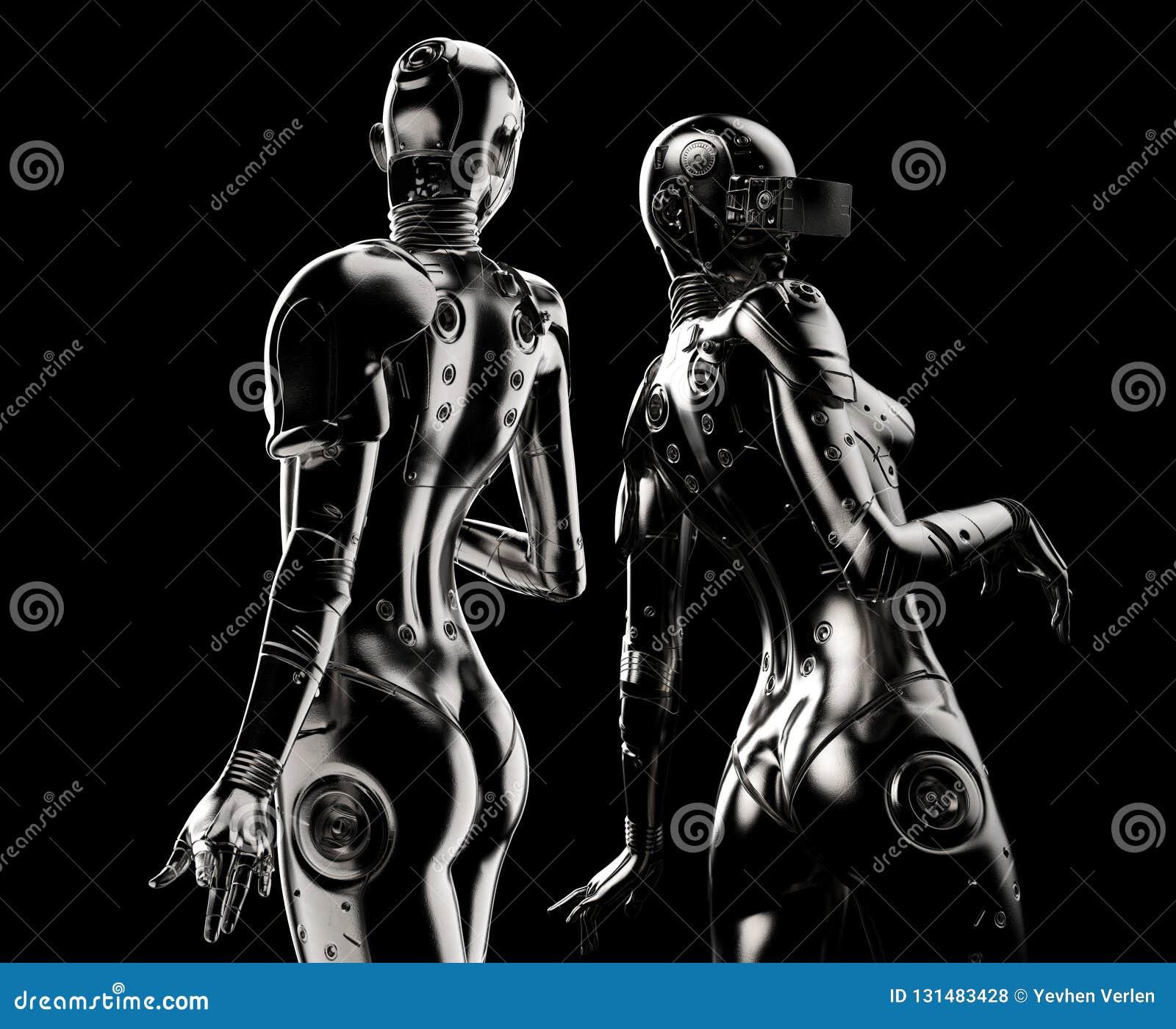 Dos robots de la moda en fondo negro