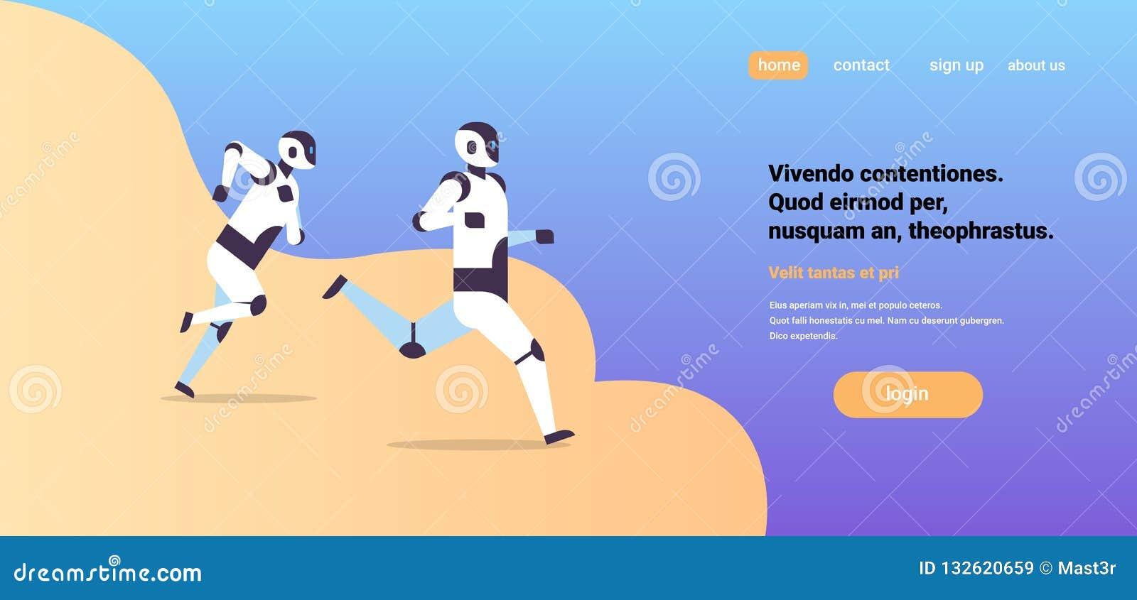 Dos robots modernos que corren el espacio horizontal plano de la copia del concepto de la competencia de la tecnología de intelig