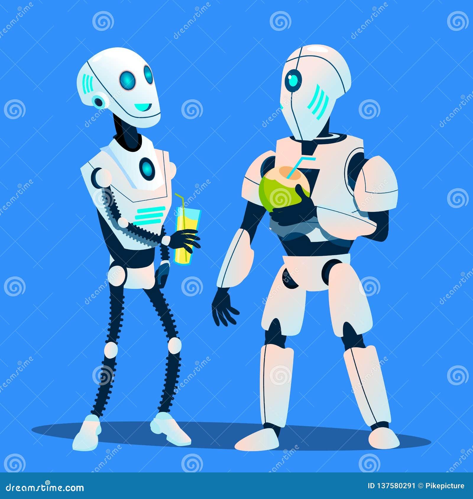 Dos robots que beben los cócteles y que hablan vector Ilustración aislada