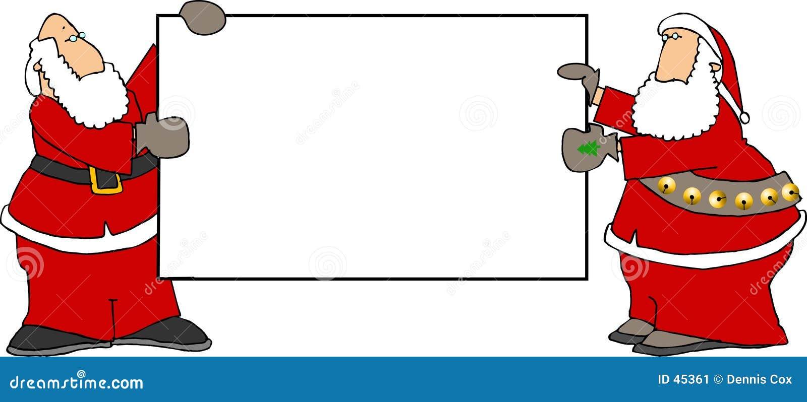 Dos Santas que llevan a cabo una muestra en blanco