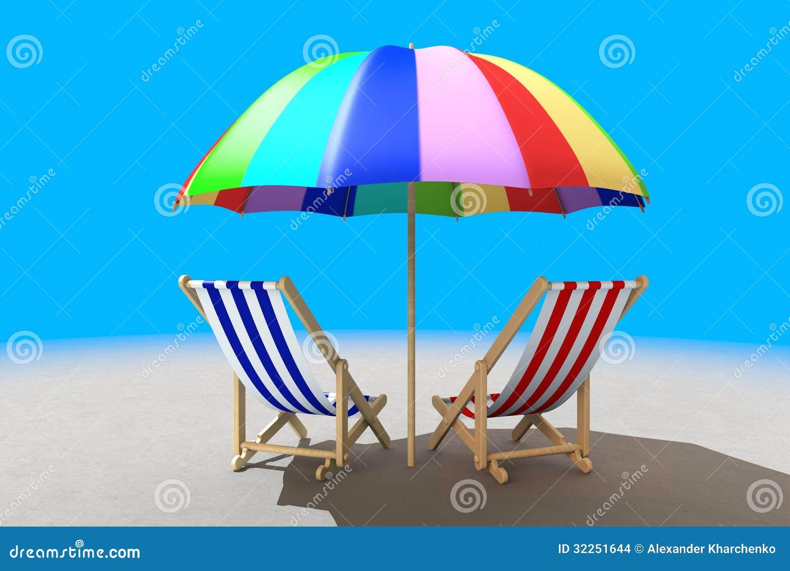 Dos sillas de playa debajo de la sombrilla imagenes de - Sombrilla playa ...