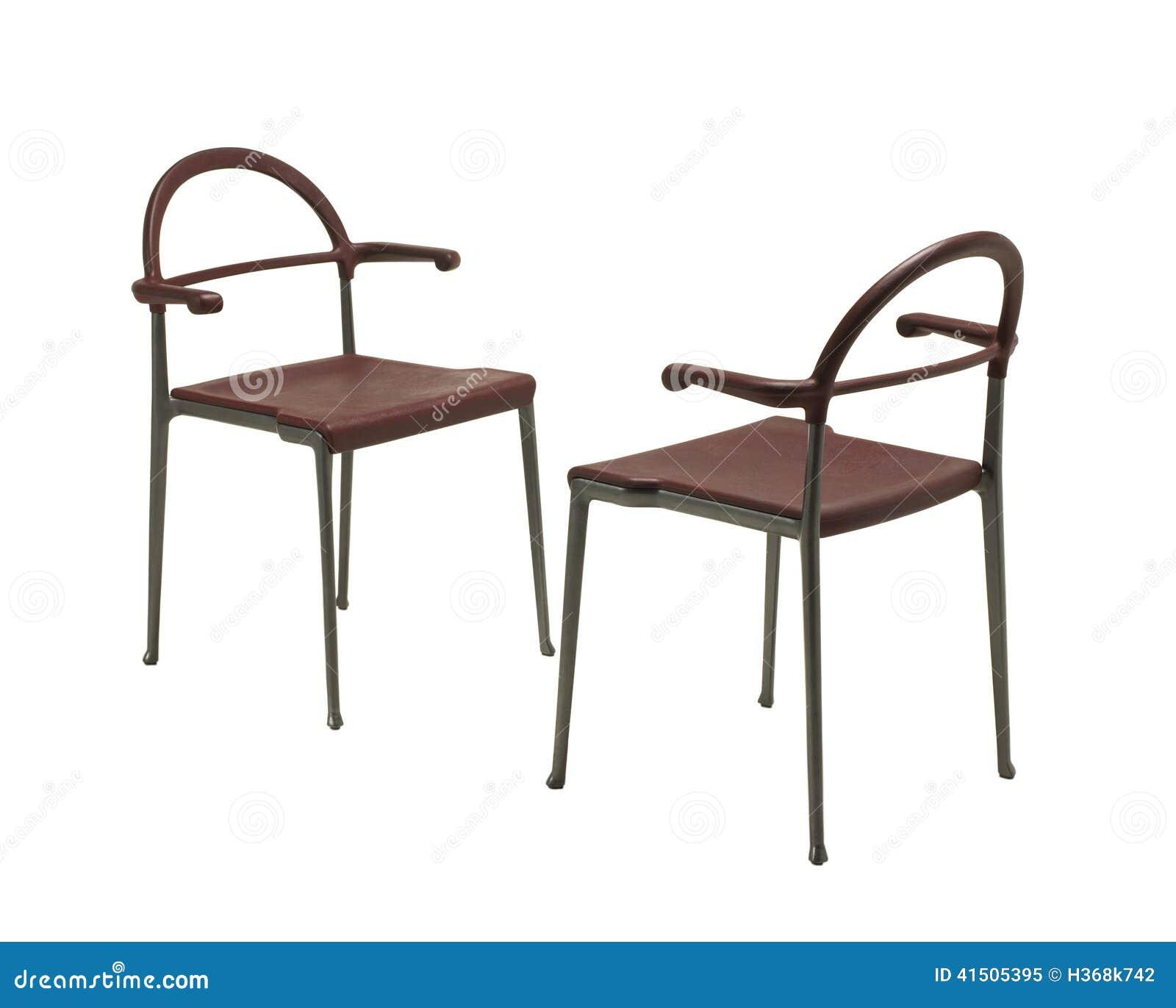 dos sillas met licas modernas aisladas en blanco foto de