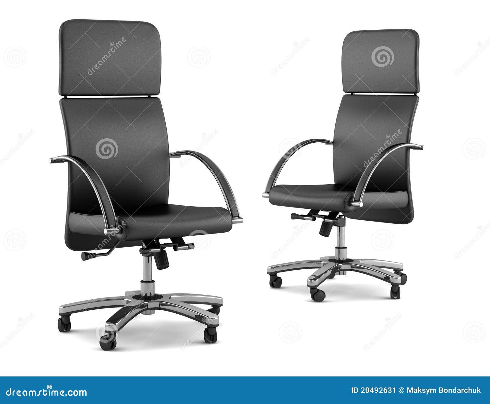 Dos sillas negras modernas de la oficina en blanco stock for Sillas de oficina modernas