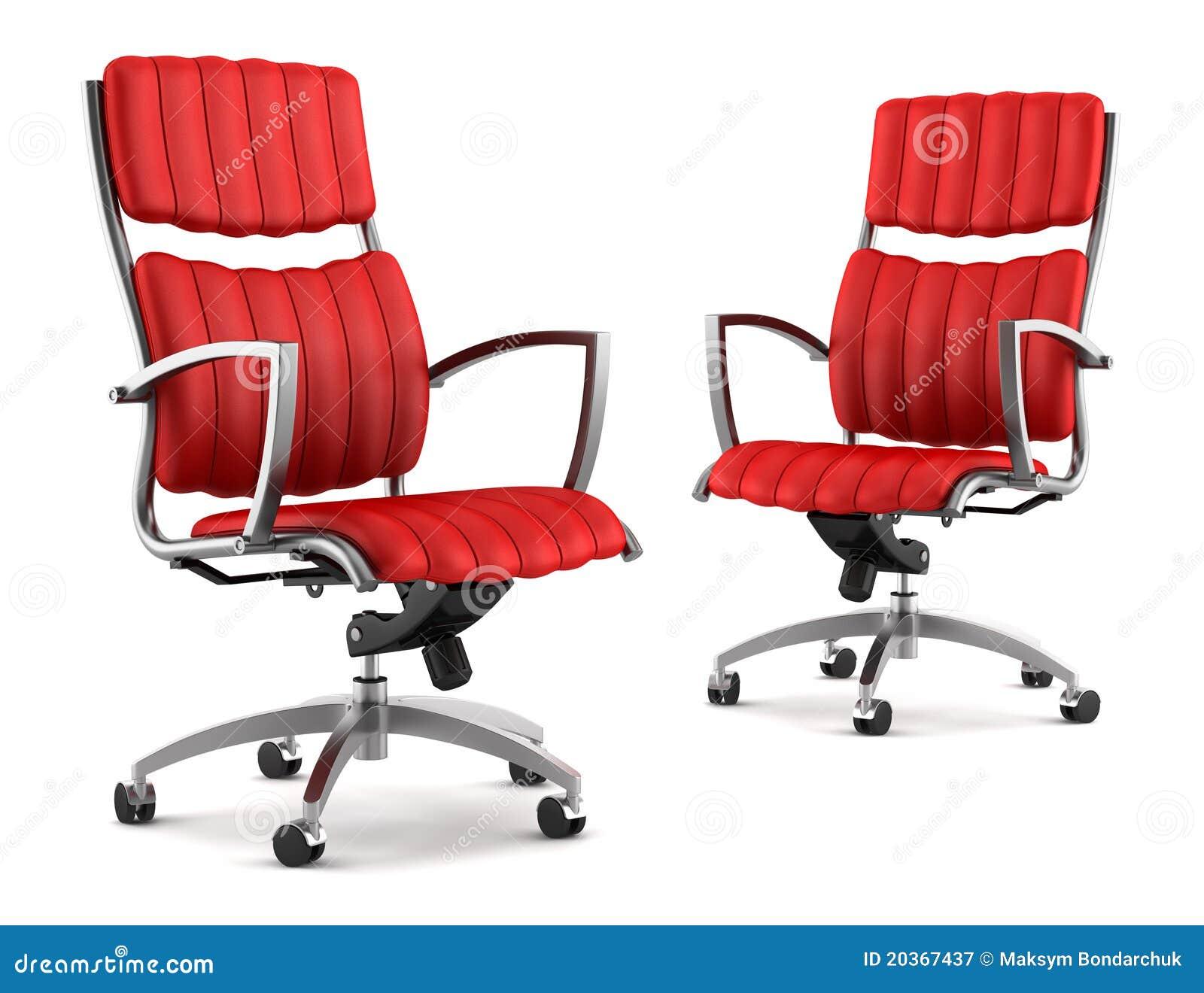 dos sillas rojas modernas de la oficina aisladas en blanco