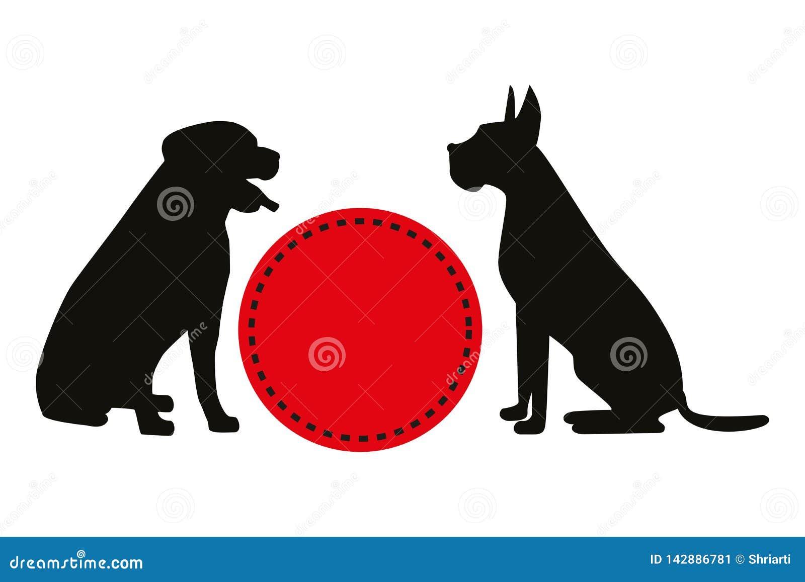 Dos siluetas negras del vector de perros que se sientan cerca del círculo retro rojo