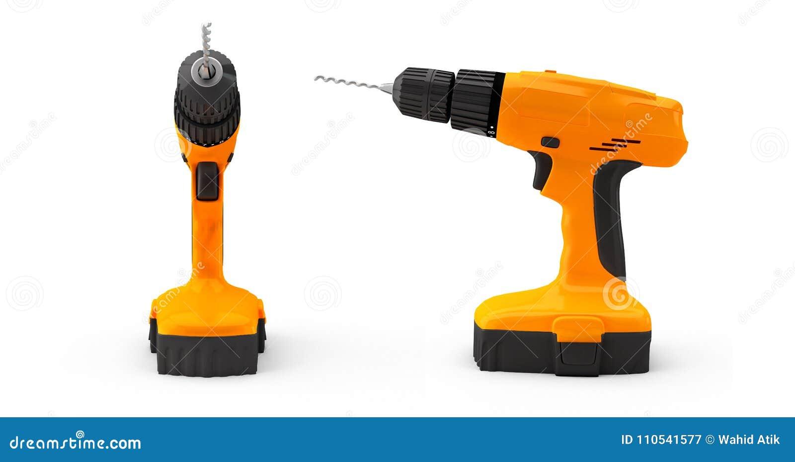 Dos taladros y destornilladores 3d del impacto del taladro del combi no rinden ningún shado