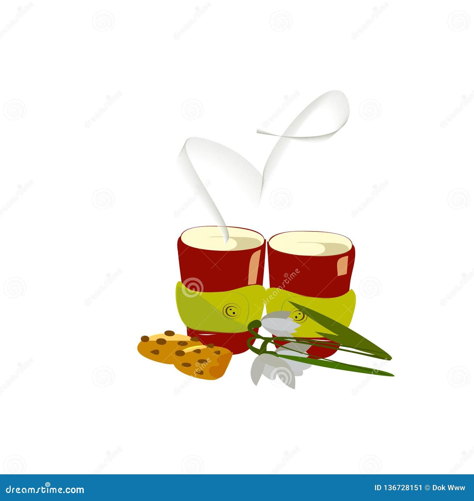 Dos tazas de café caliente con las galletas y los snowdrops y de humo en la forma de un corazón