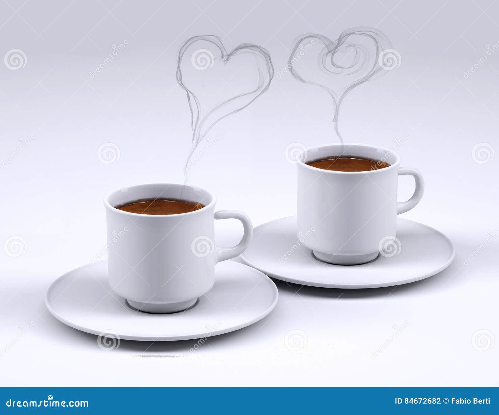Dos tazas del caf con leche con humo del coraz n stock de for Tazas cafe con leche