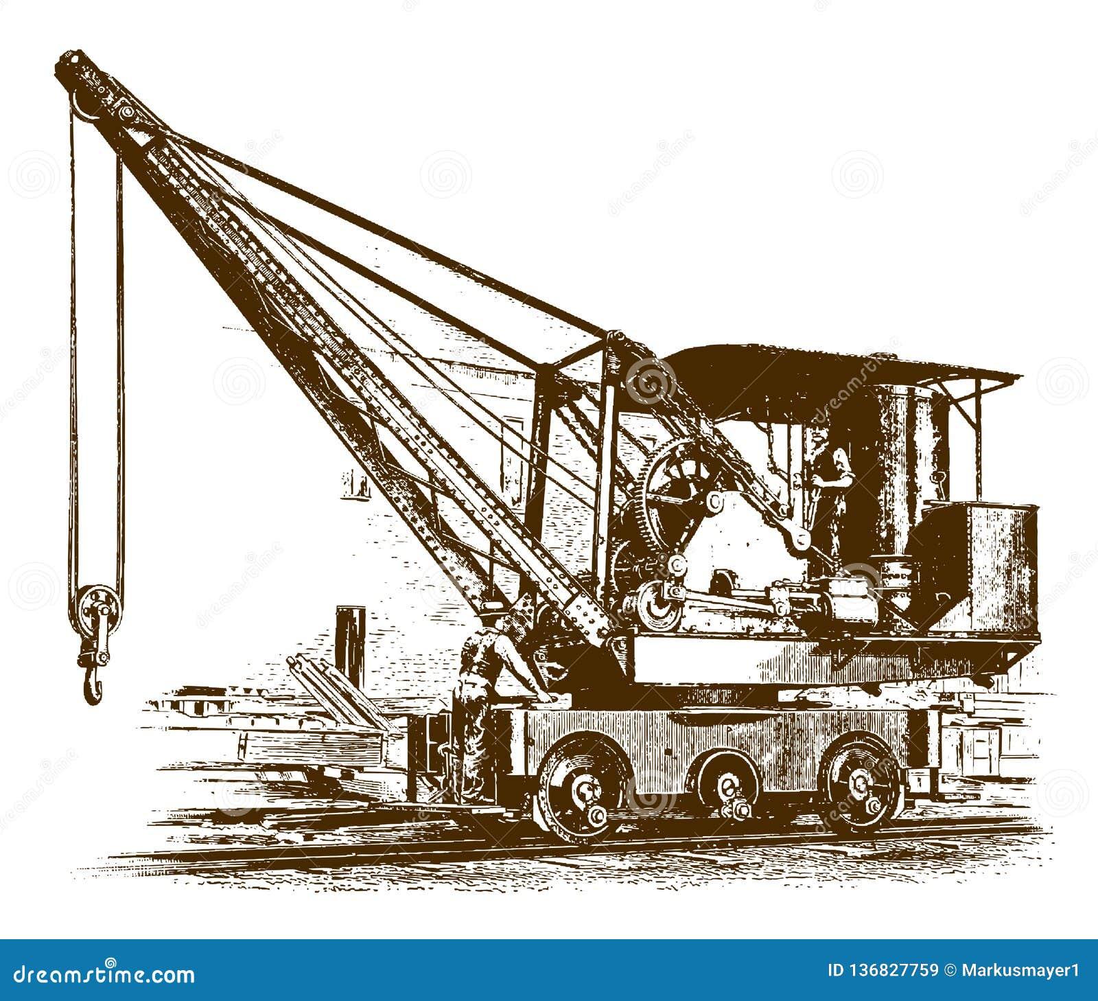 Dos trabajadores que se colocan en una grúa locomotora histórica