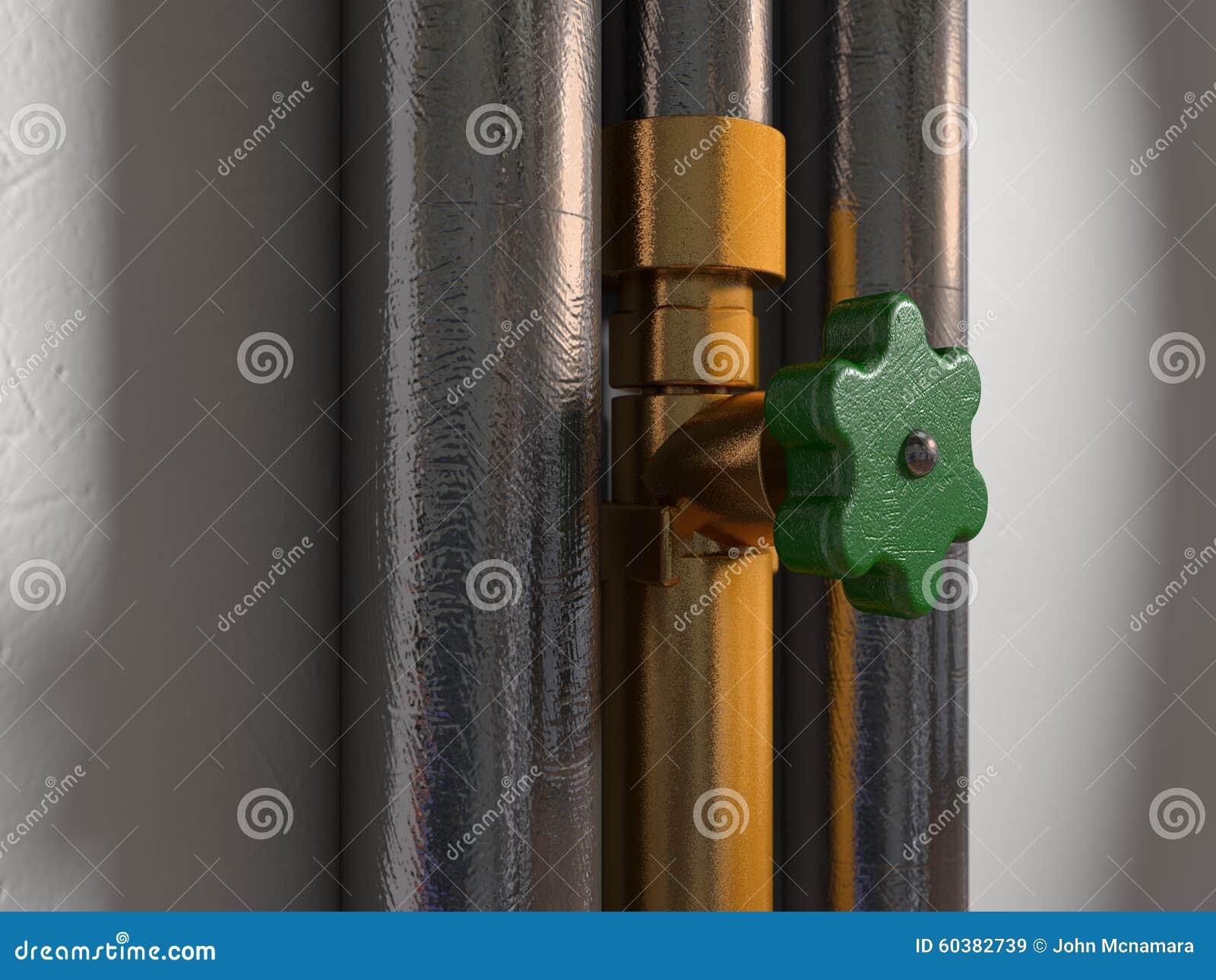 Dos tubos brillantes al lado de una instalación de tuberías de cobre amarillo y de un golpecito rasguñado
