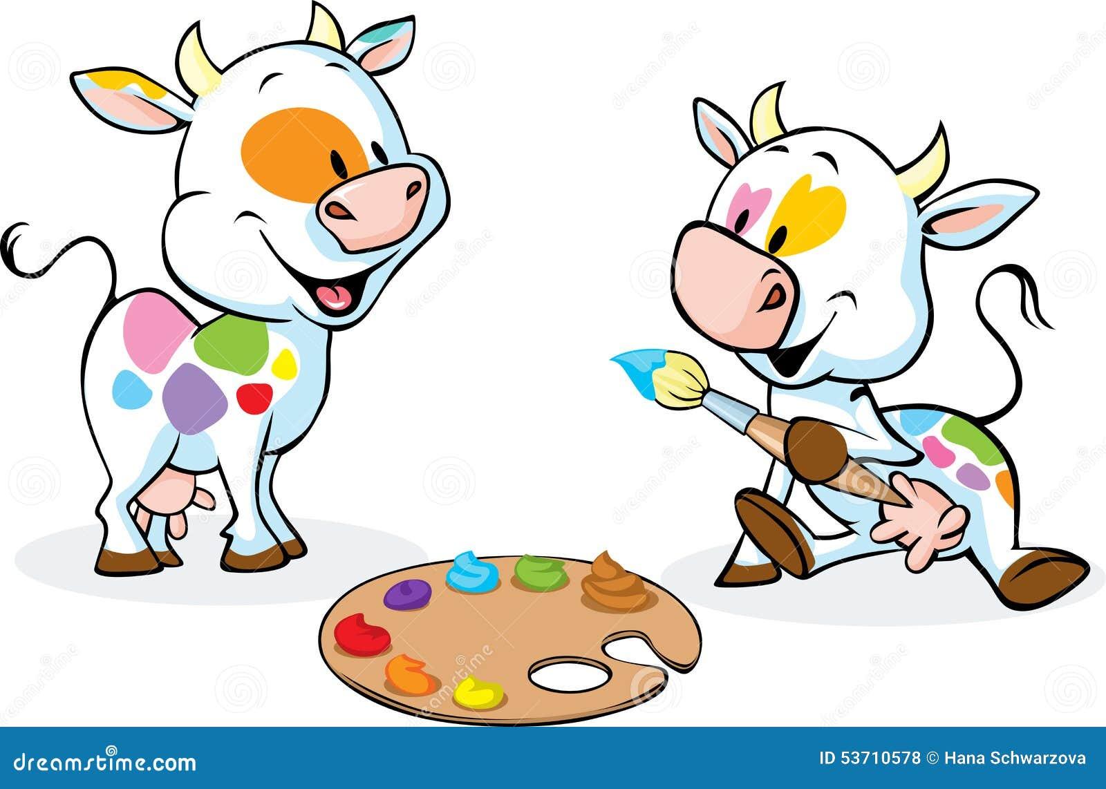 Dos Vacas Originales Pintaron Puntos En Su Cuerpo - Vector Divertido ...